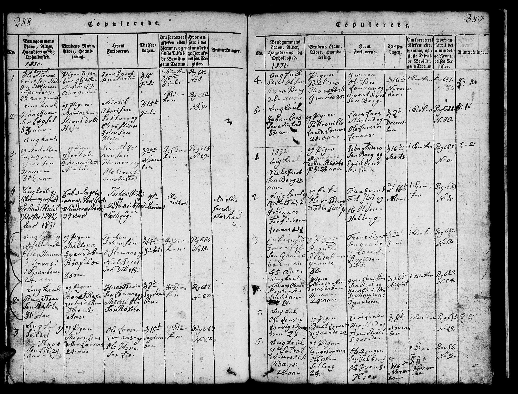 SAT, Ministerialprotokoller, klokkerbøker og fødselsregistre - Nord-Trøndelag, 731/L0310: Klokkerbok nr. 731C01, 1816-1874, s. 388-389