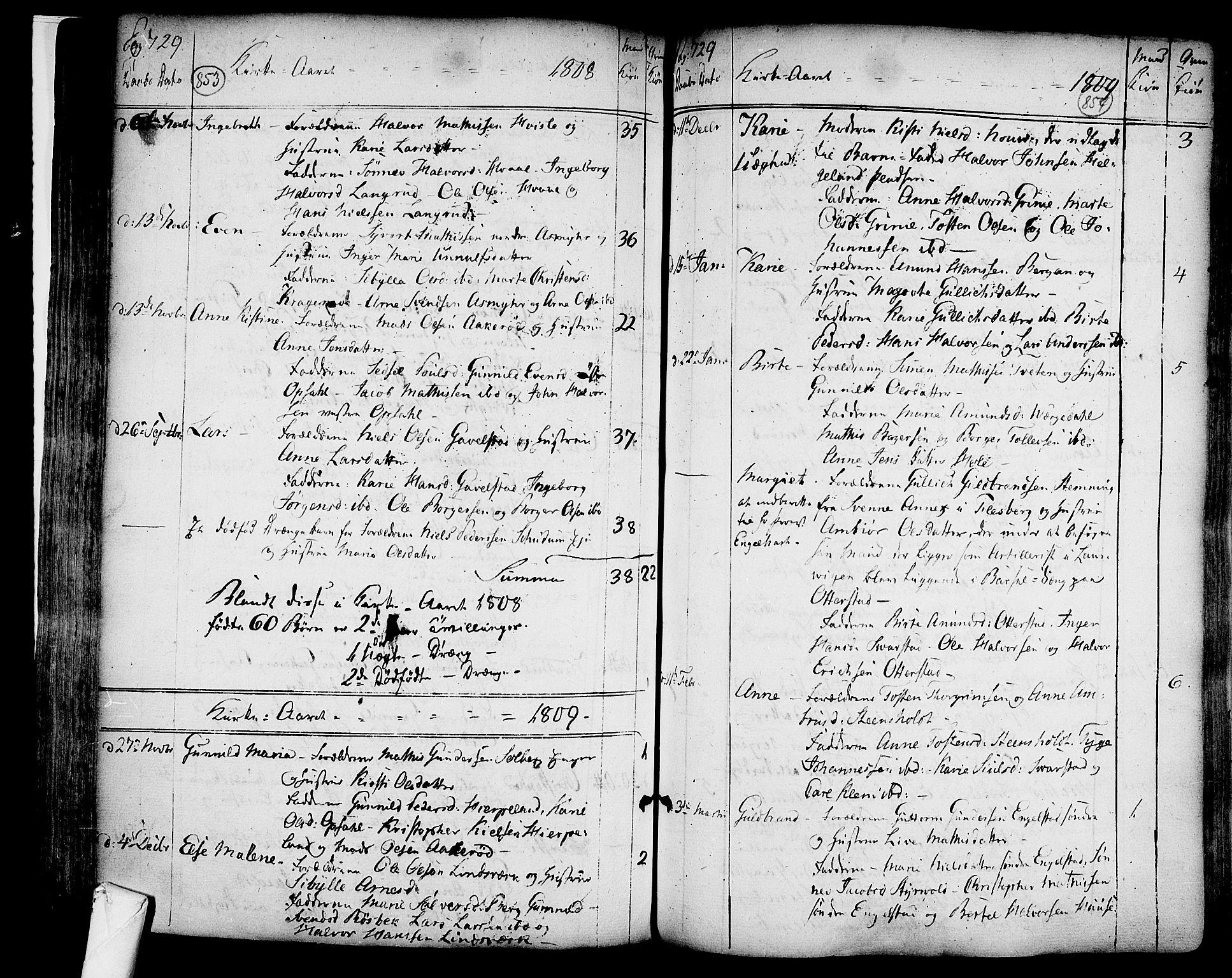 SAKO, Lardal kirkebøker, F/Fa/L0003: Ministerialbok nr. I 3, 1733-1815, s. 853-854