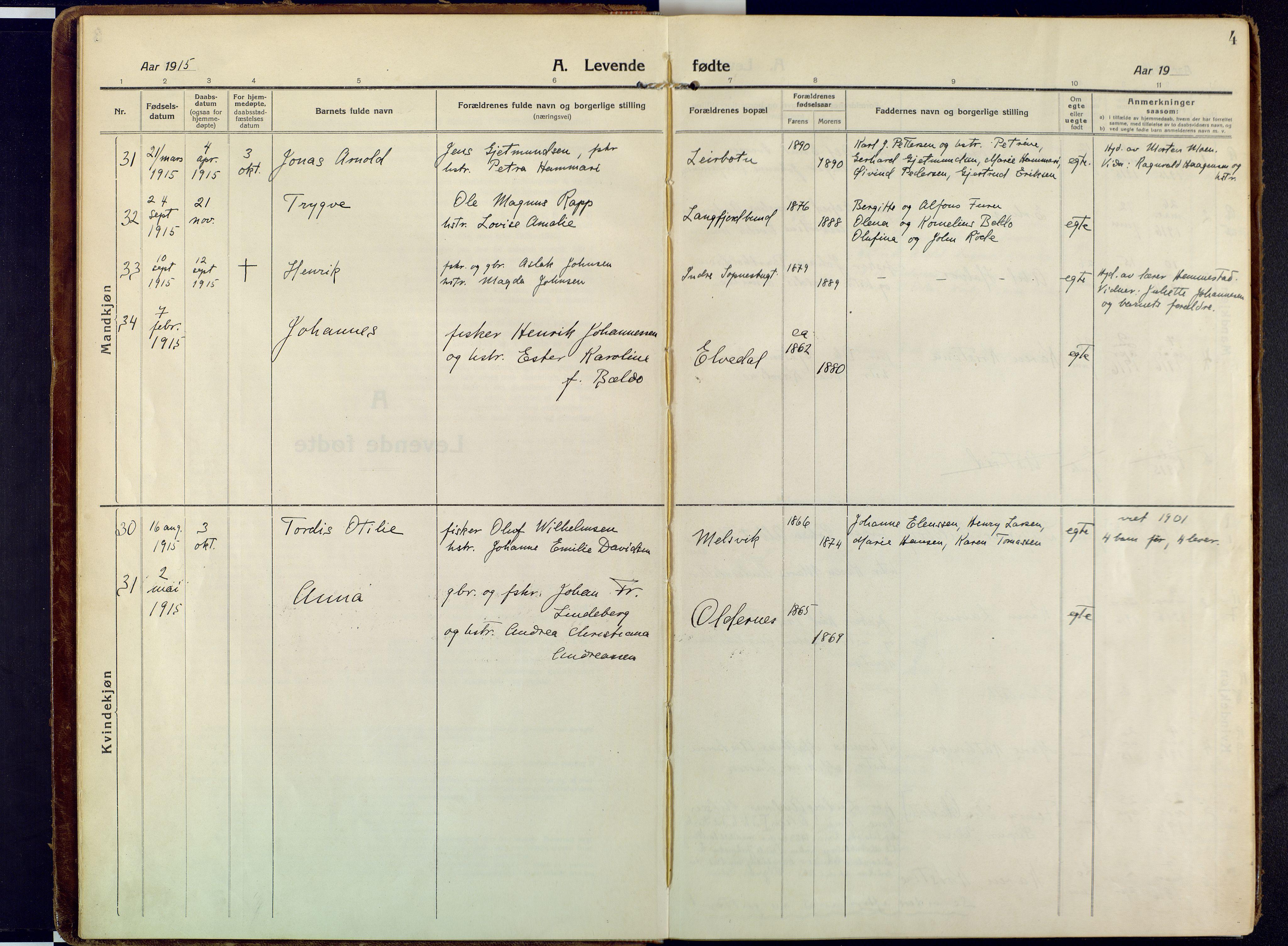 SATØ, Talvik sokneprestkontor, H/Ha/L0018kirke: Ministerialbok nr. 18, 1915-1924, s. 4