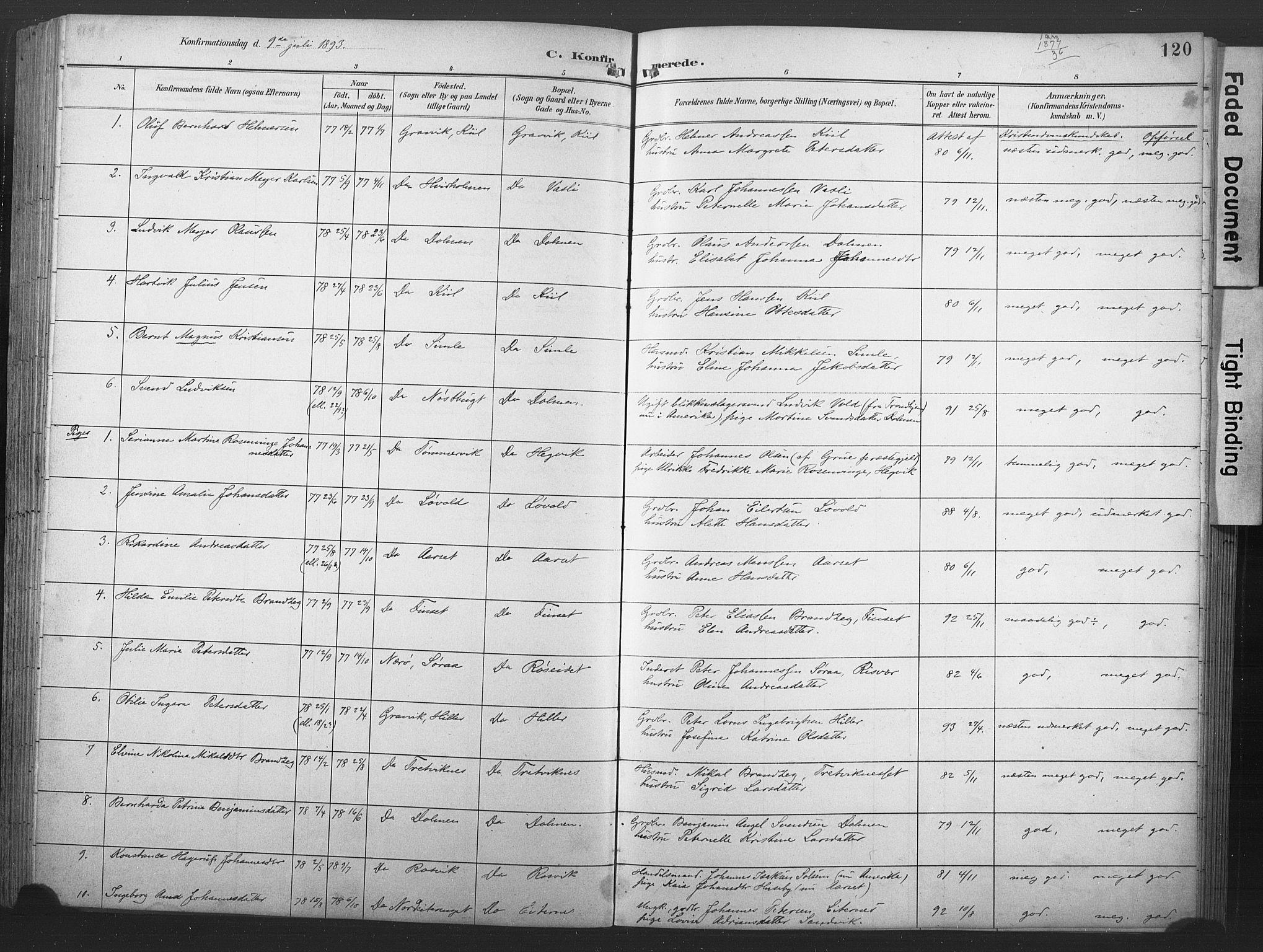 SAT, Ministerialprotokoller, klokkerbøker og fødselsregistre - Nord-Trøndelag, 789/L0706: Klokkerbok nr. 789C01, 1888-1931, s. 120