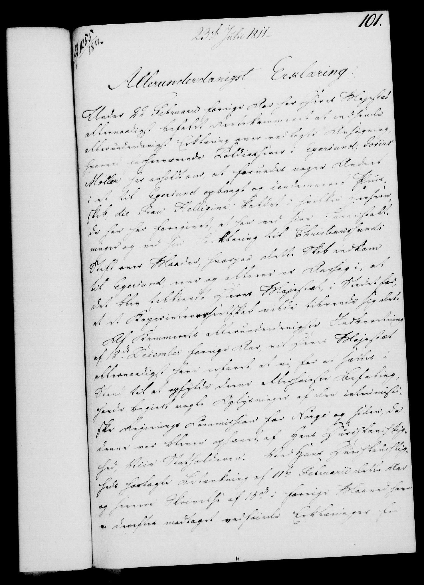 RA, Rentekammeret, Kammerkanselliet, G/Gf/Gfa/L0093: Norsk relasjons- og resolusjonsprotokoll (merket RK 52.93), 1811, s. 413