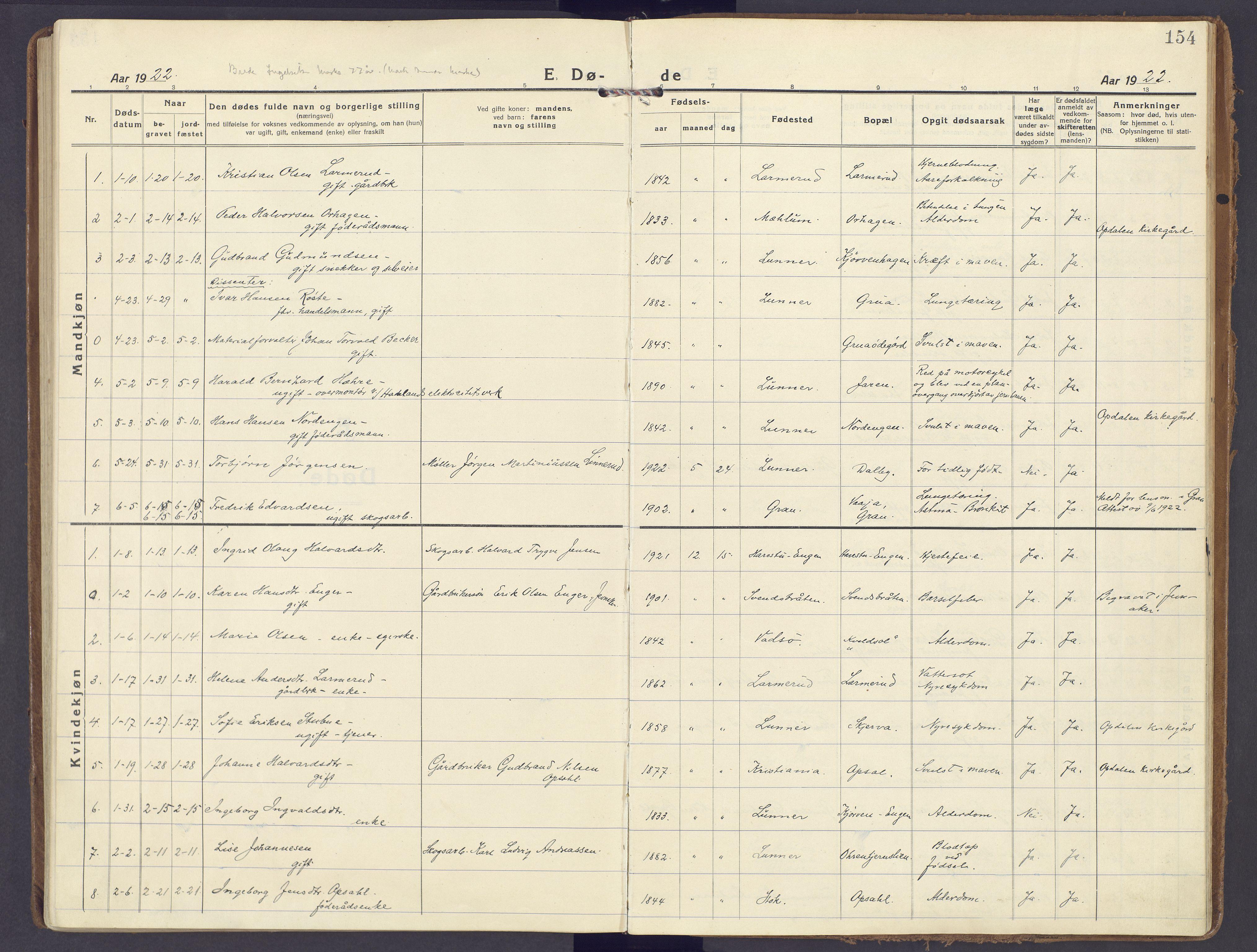 SAH, Lunner prestekontor, H/Ha/Haa/L0002: Ministerialbok nr. 2, 1922-1931, s. 154