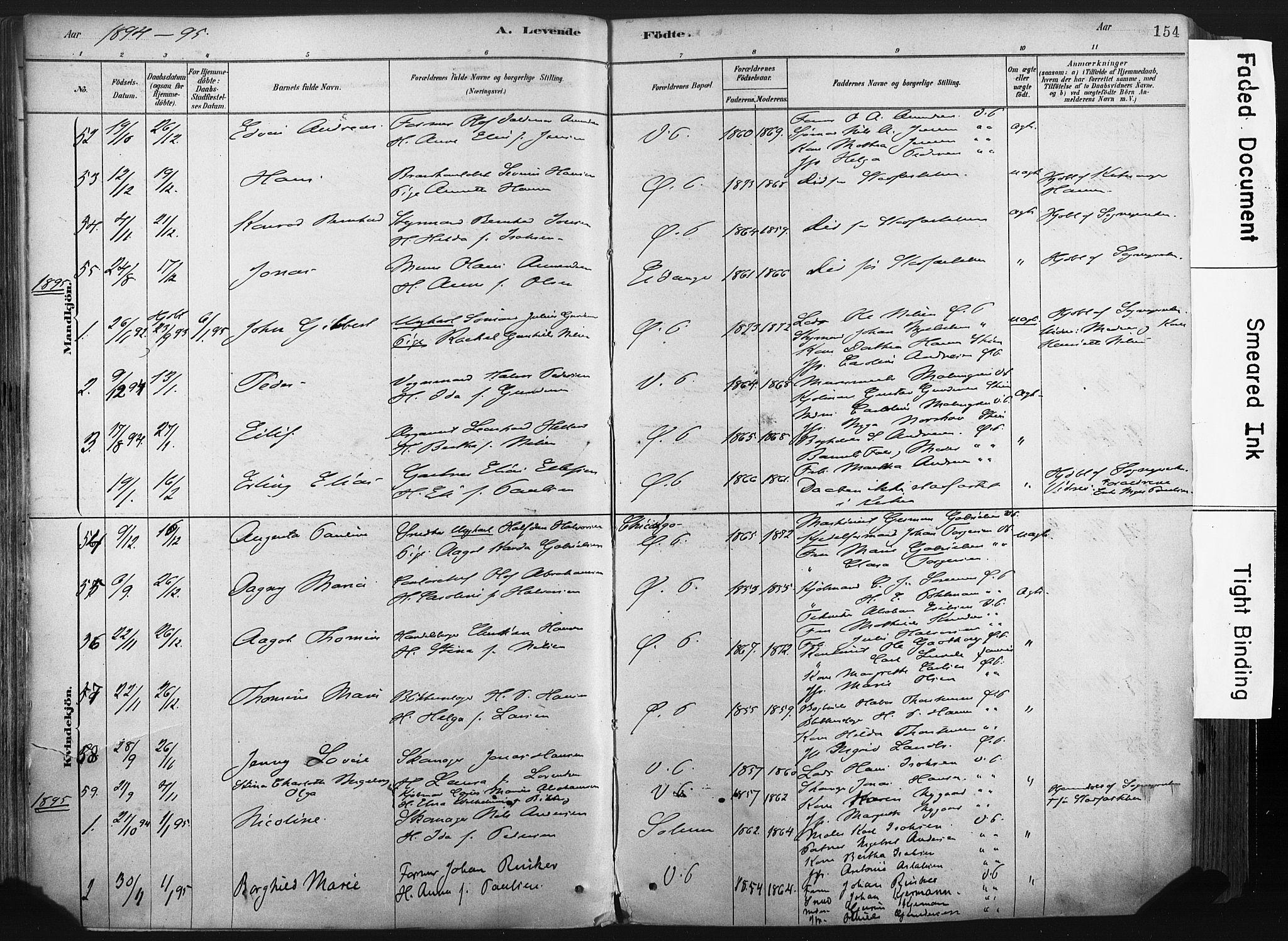 SAKO, Porsgrunn kirkebøker , F/Fa/L0008: Ministerialbok nr. 8, 1878-1895, s. 154