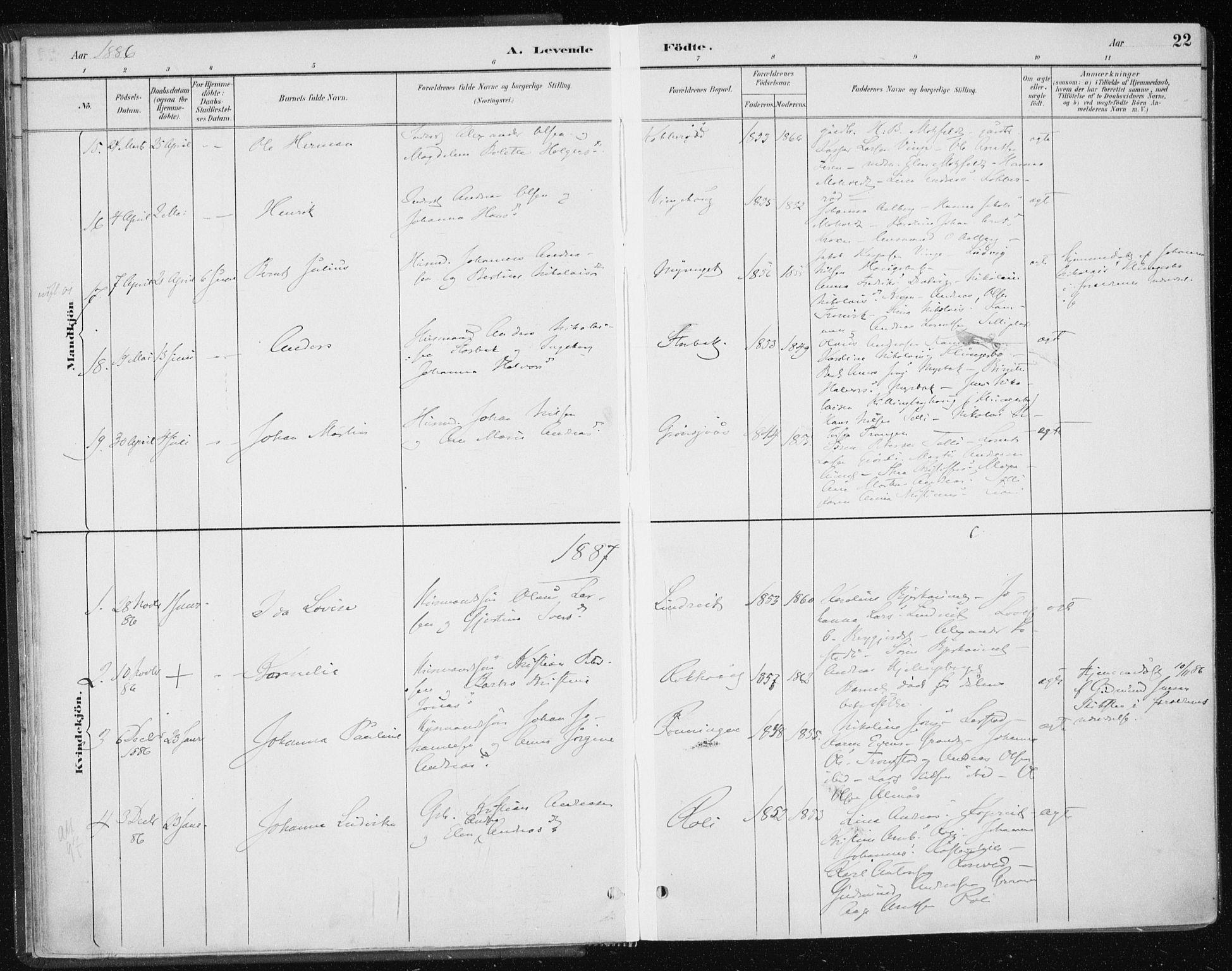 SAT, Ministerialprotokoller, klokkerbøker og fødselsregistre - Nord-Trøndelag, 701/L0010: Ministerialbok nr. 701A10, 1883-1899, s. 22