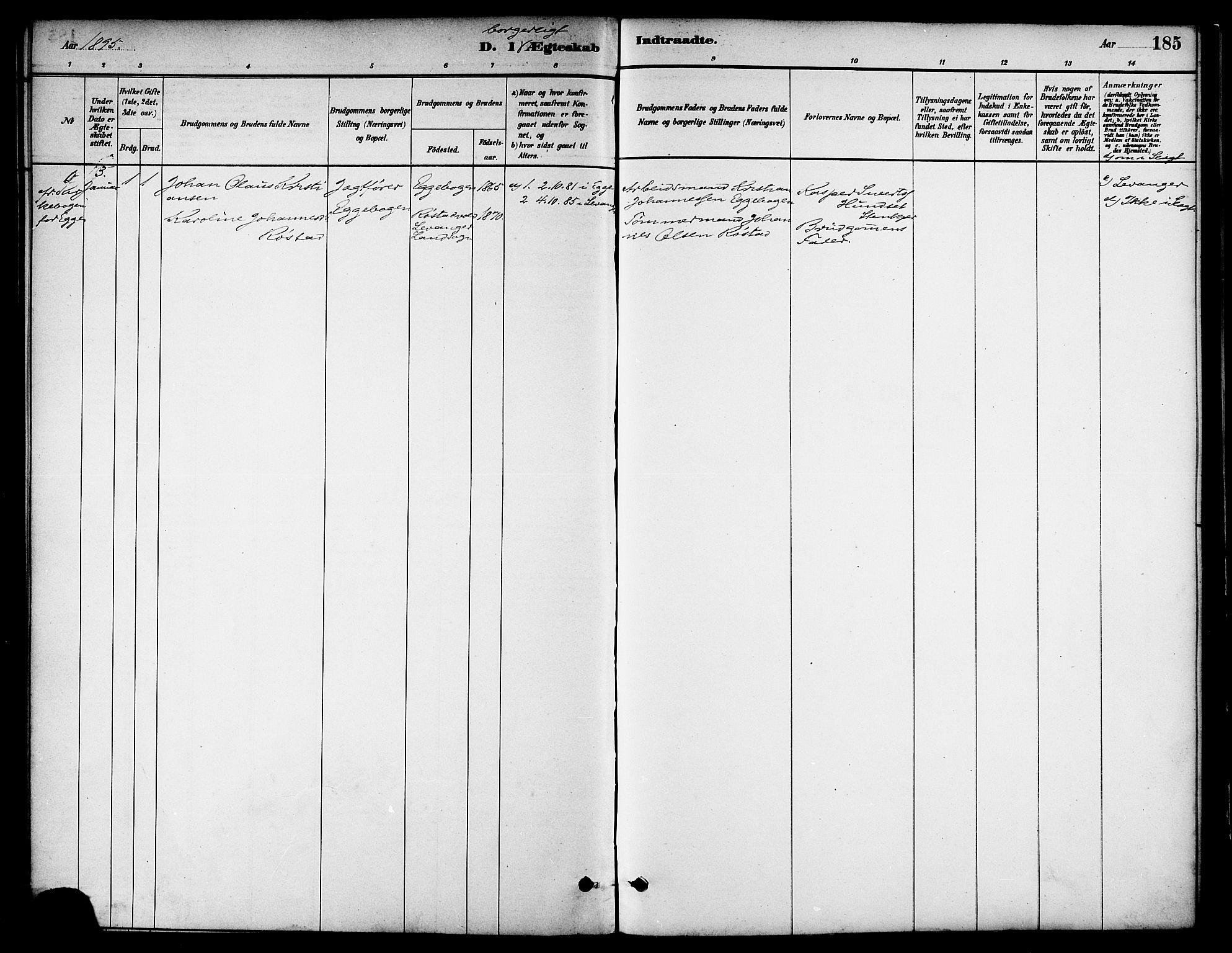 SAT, Ministerialprotokoller, klokkerbøker og fødselsregistre - Nord-Trøndelag, 739/L0371: Ministerialbok nr. 739A03, 1881-1895, s. 185
