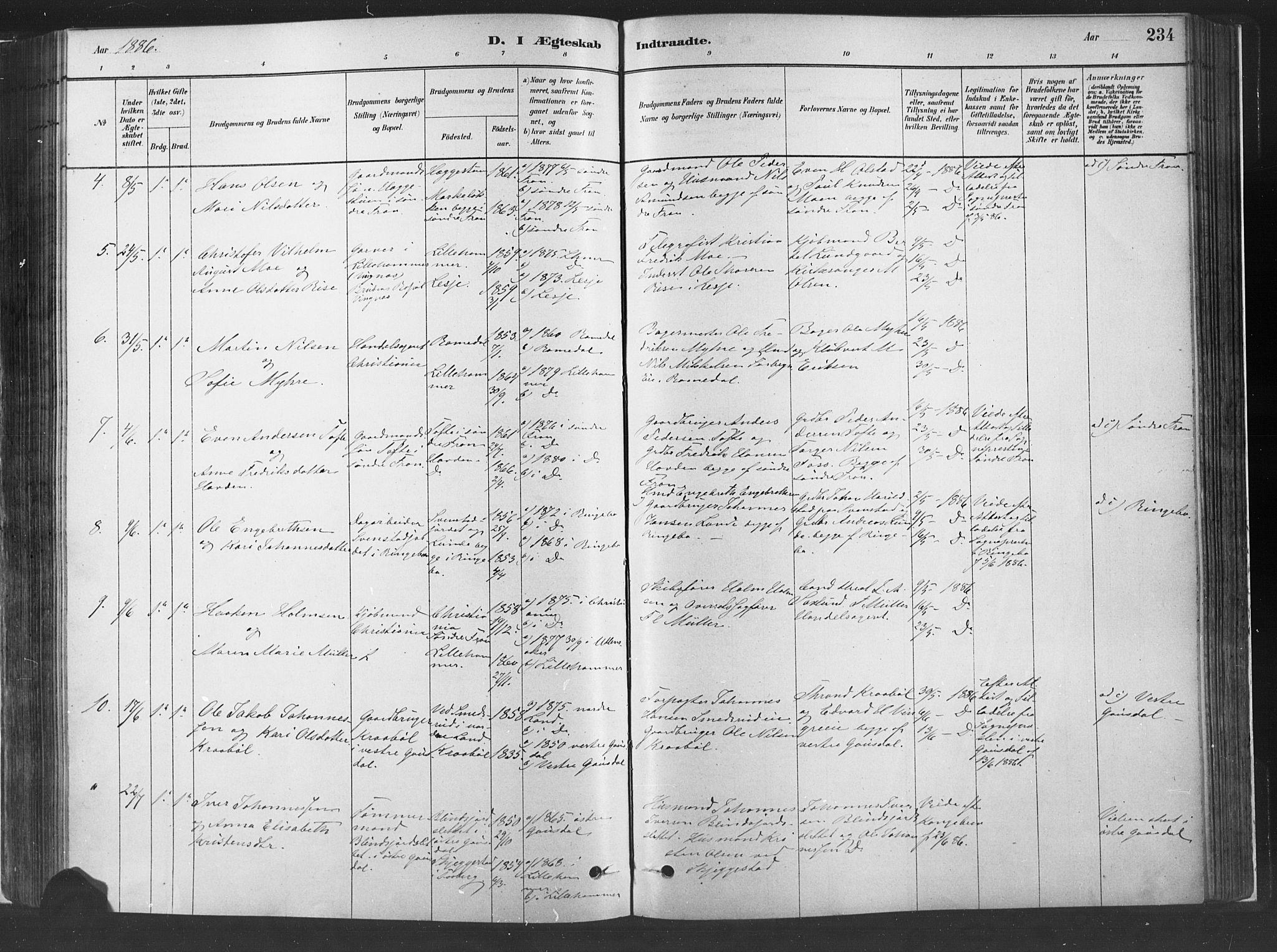 SAH, Fåberg prestekontor, H/Ha/Haa/L0010: Ministerialbok nr. 10, 1879-1900, s. 234