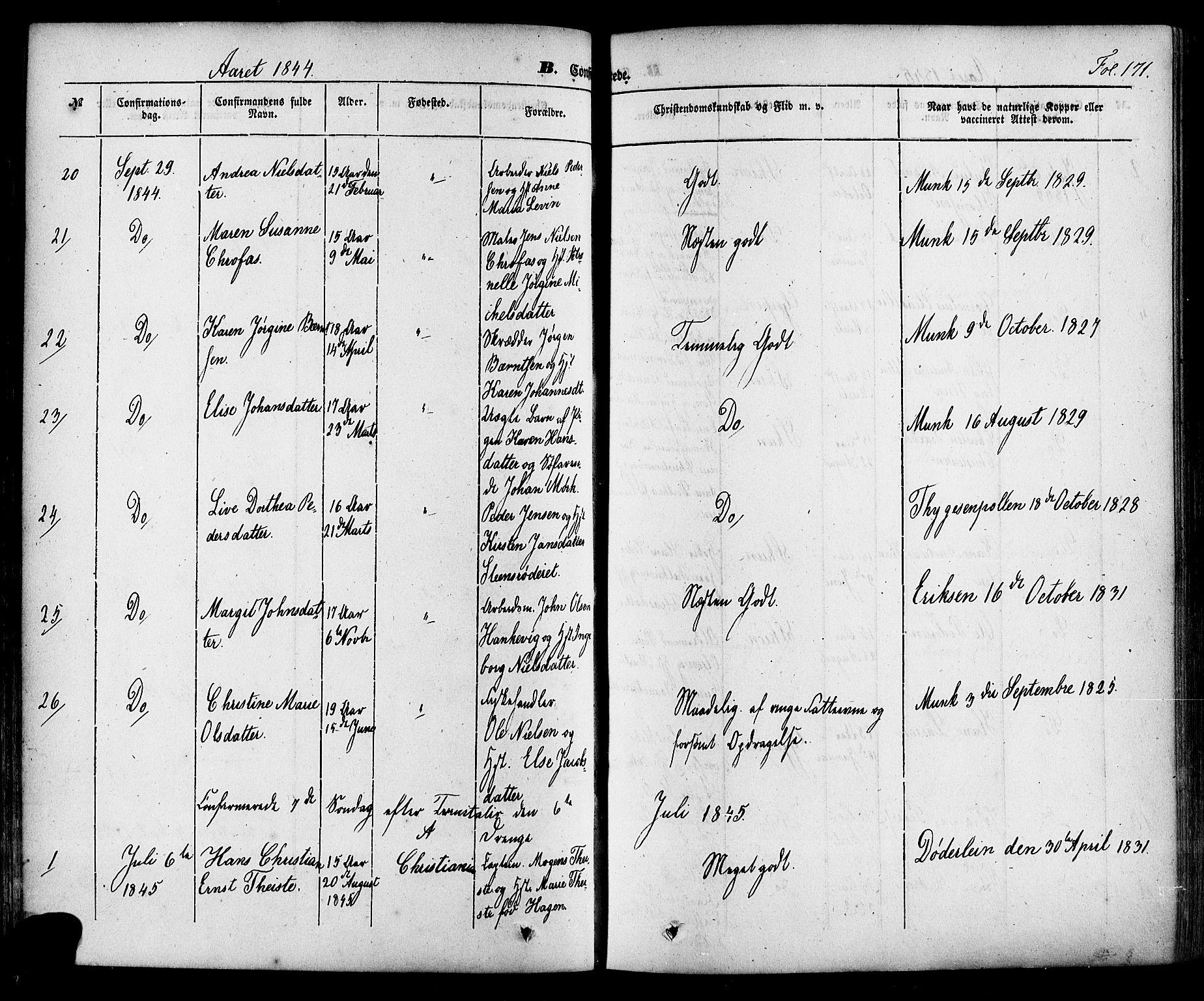 SAKO, Skien kirkebøker, F/Fa/L0006a: Ministerialbok nr. 6A, 1843-1856, s. 171
