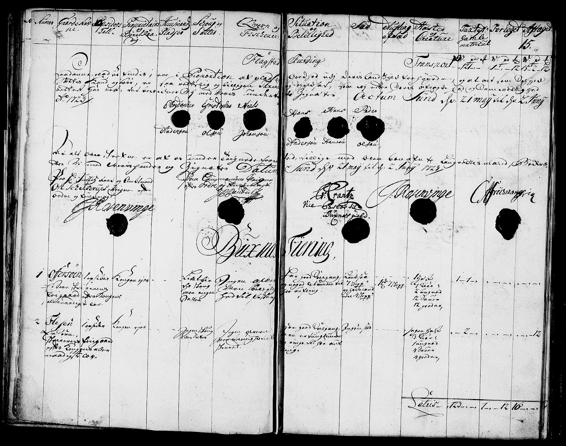 RA, Rentekammeret inntil 1814, Realistisk ordnet avdeling, N/Nb/Nbf/L0174: Lofoten eksaminasjonsprotokoll, 1723, s. 14b-15a