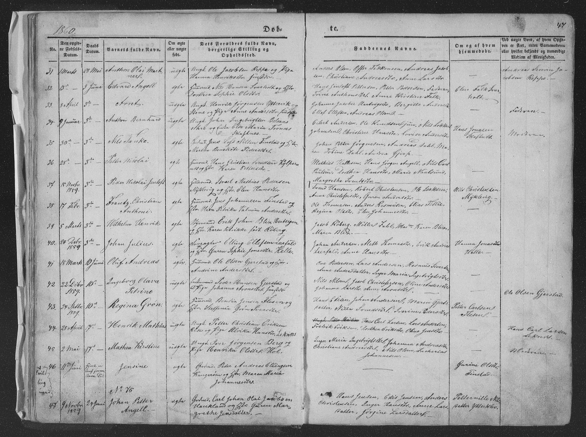 SAT, Ministerialprotokoller, klokkerbøker og fødselsregistre - Nordland, 881/L1165: Klokkerbok nr. 881C02, 1854-1876, s. 47