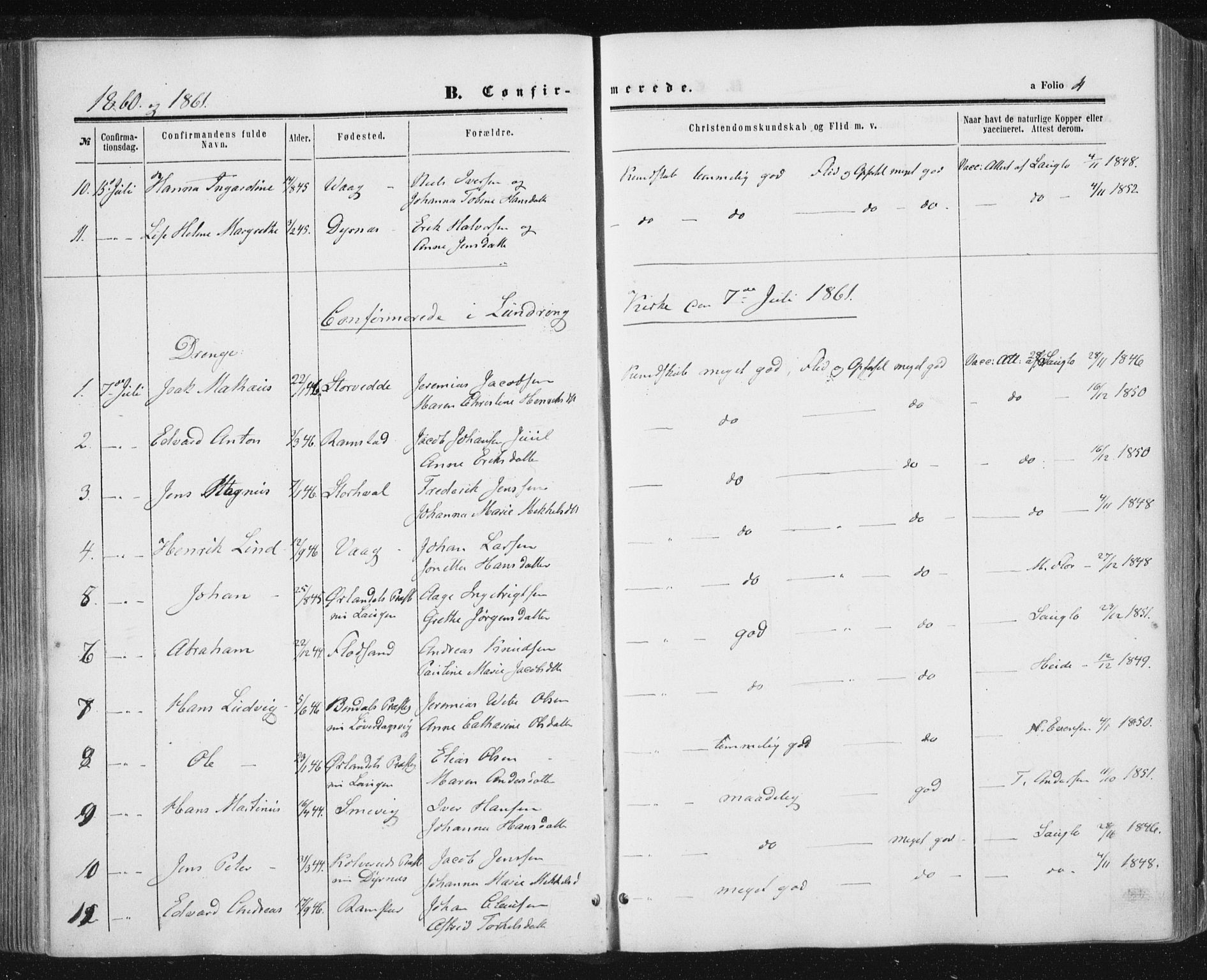 SAT, Ministerialprotokoller, klokkerbøker og fødselsregistre - Nord-Trøndelag, 784/L0670: Ministerialbok nr. 784A05, 1860-1876, s. 4