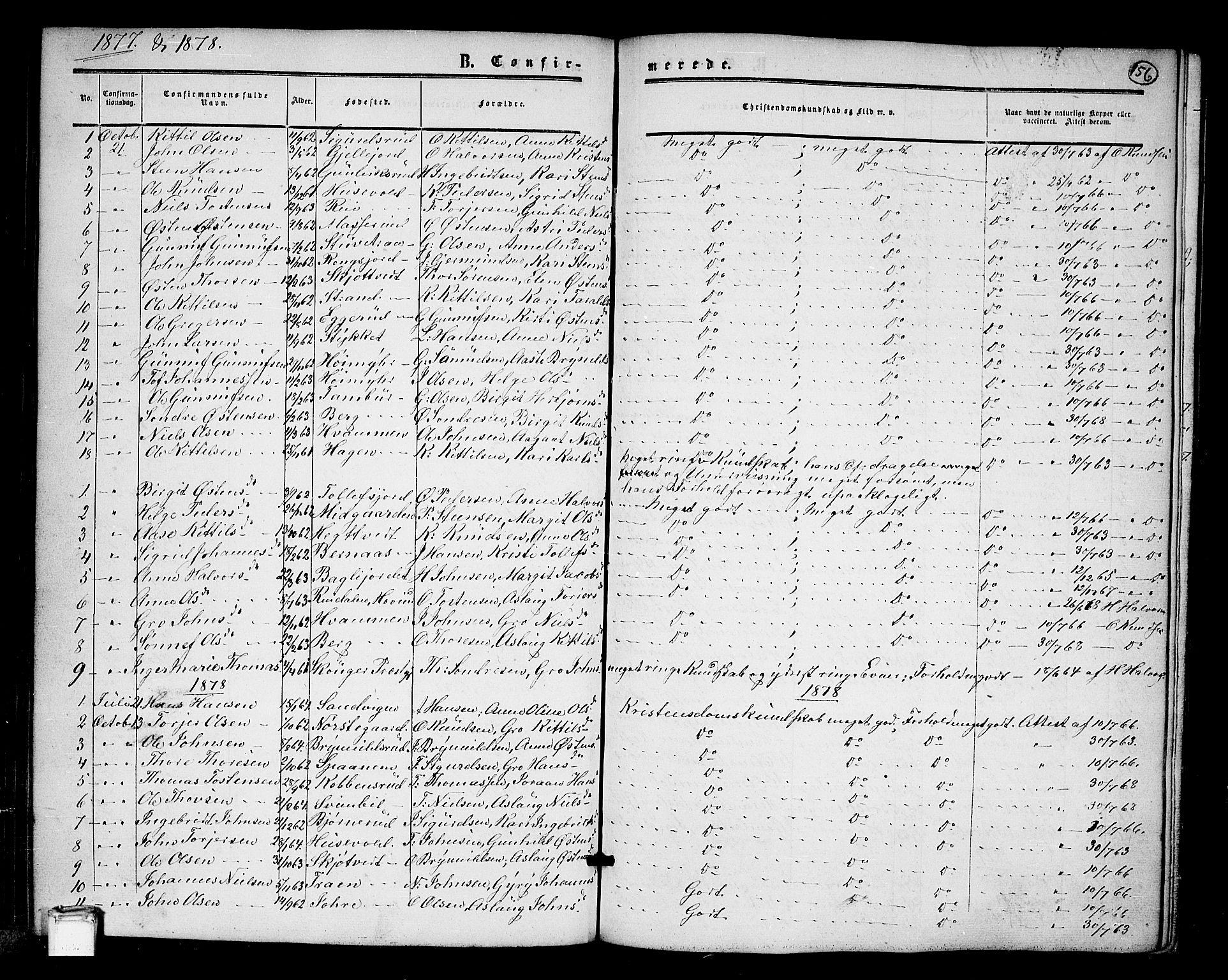 SAKO, Tinn kirkebøker, G/Ga/L0002: Klokkerbok nr. I 2, 1851-1883, s. 156