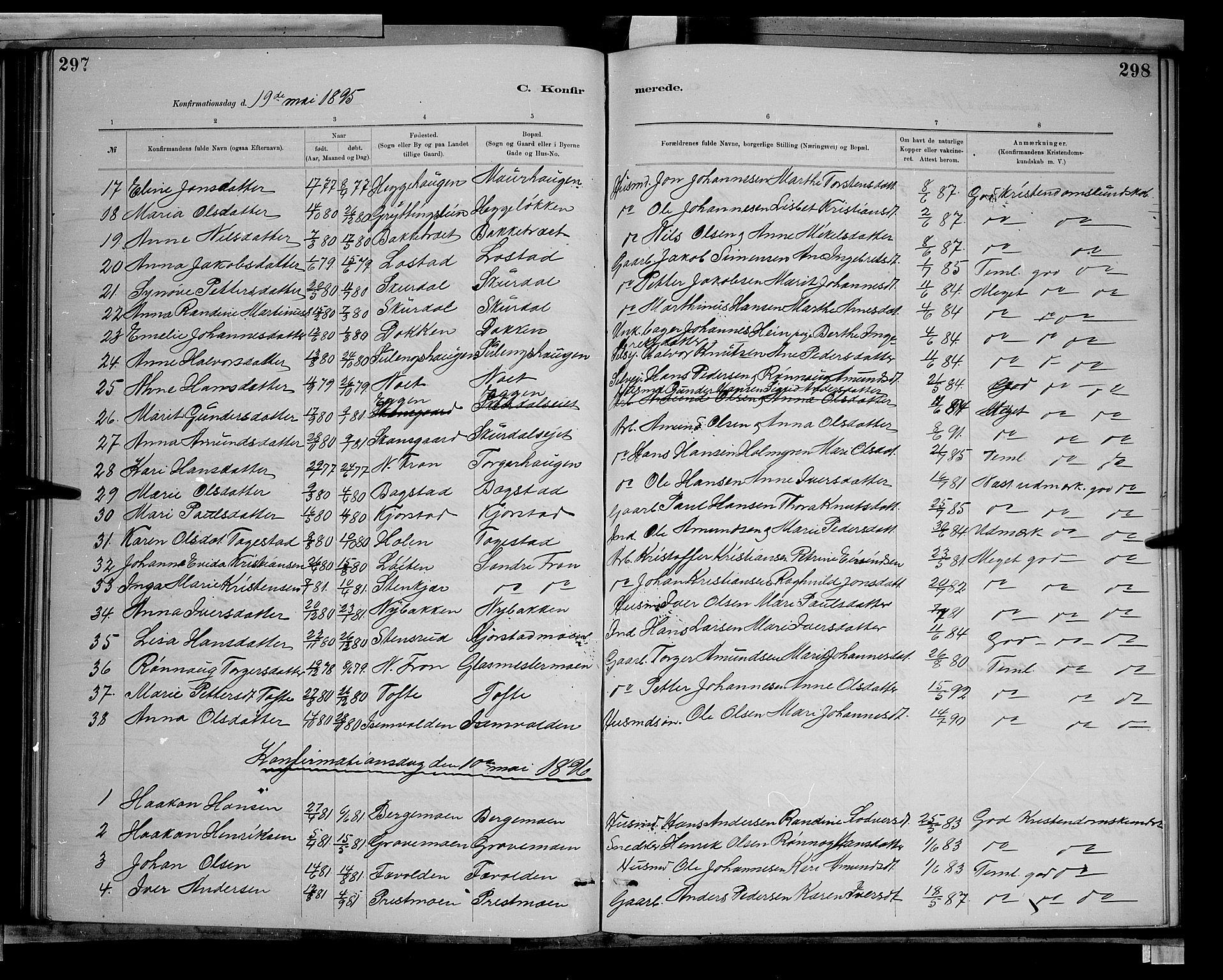 SAH, Sør-Fron prestekontor, H/Ha/Hab/L0003: Klokkerbok nr. 3, 1884-1896, s. 297-298