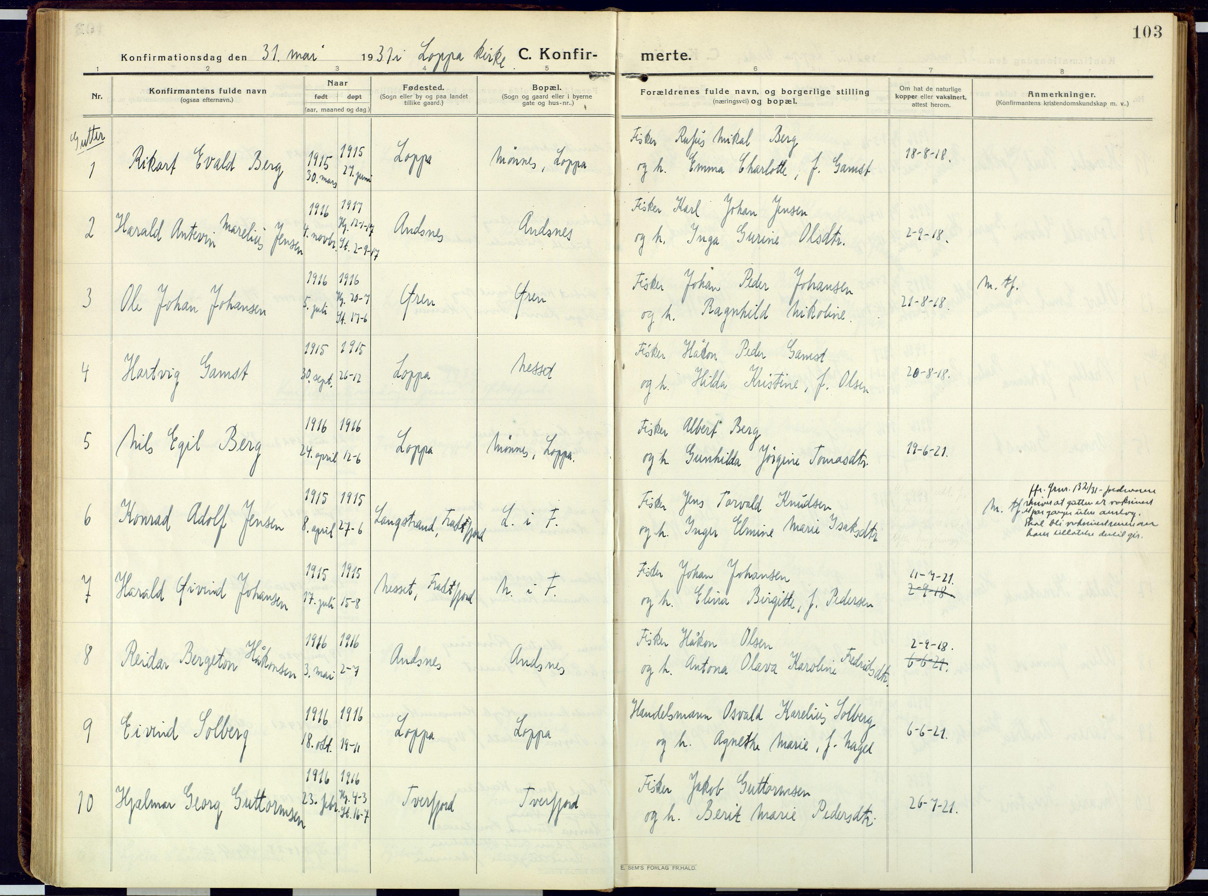 SATØ, Loppa sokneprestkontor, H/Ha/L0013kirke: Ministerialbok nr. 13, 1920-1932, s. 103