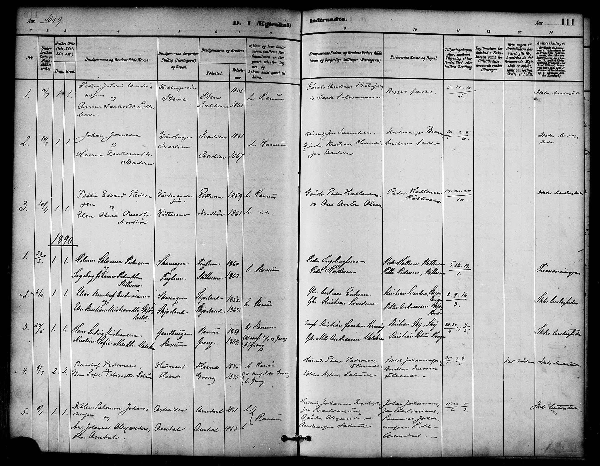 SAT, Ministerialprotokoller, klokkerbøker og fødselsregistre - Nord-Trøndelag, 764/L0555: Ministerialbok nr. 764A10, 1881-1896, s. 111