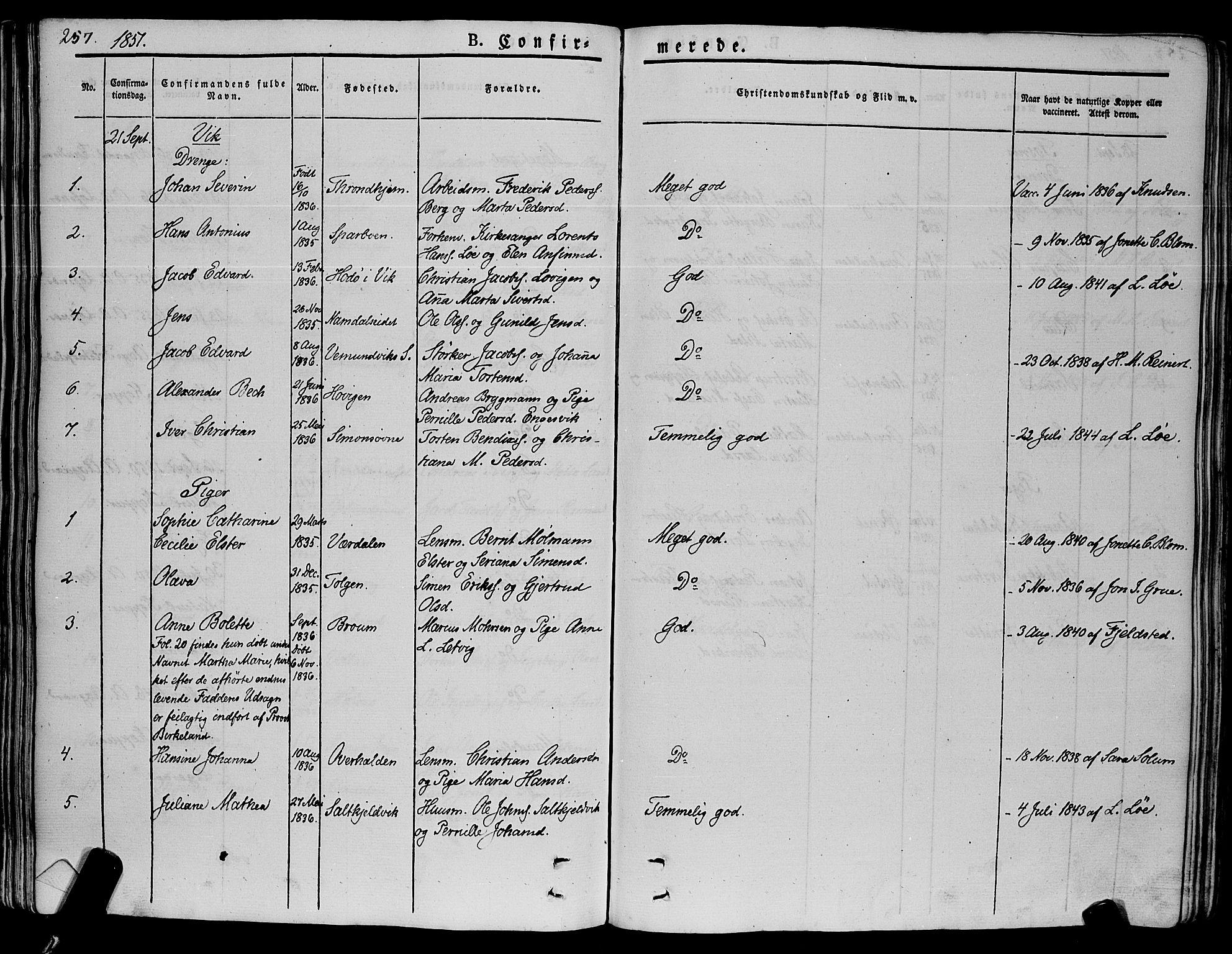 SAT, Ministerialprotokoller, klokkerbøker og fødselsregistre - Nord-Trøndelag, 773/L0614: Ministerialbok nr. 773A05, 1831-1856, s. 257