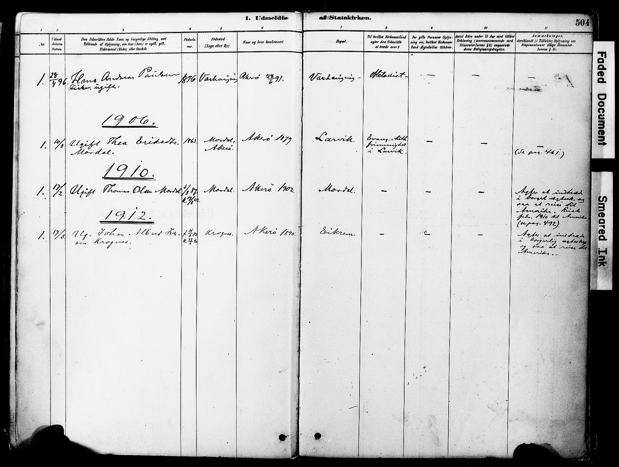 SAT, Ministerialprotokoller, klokkerbøker og fødselsregistre - Møre og Romsdal, 560/L0721: Ministerialbok nr. 560A05, 1878-1917, s. 504