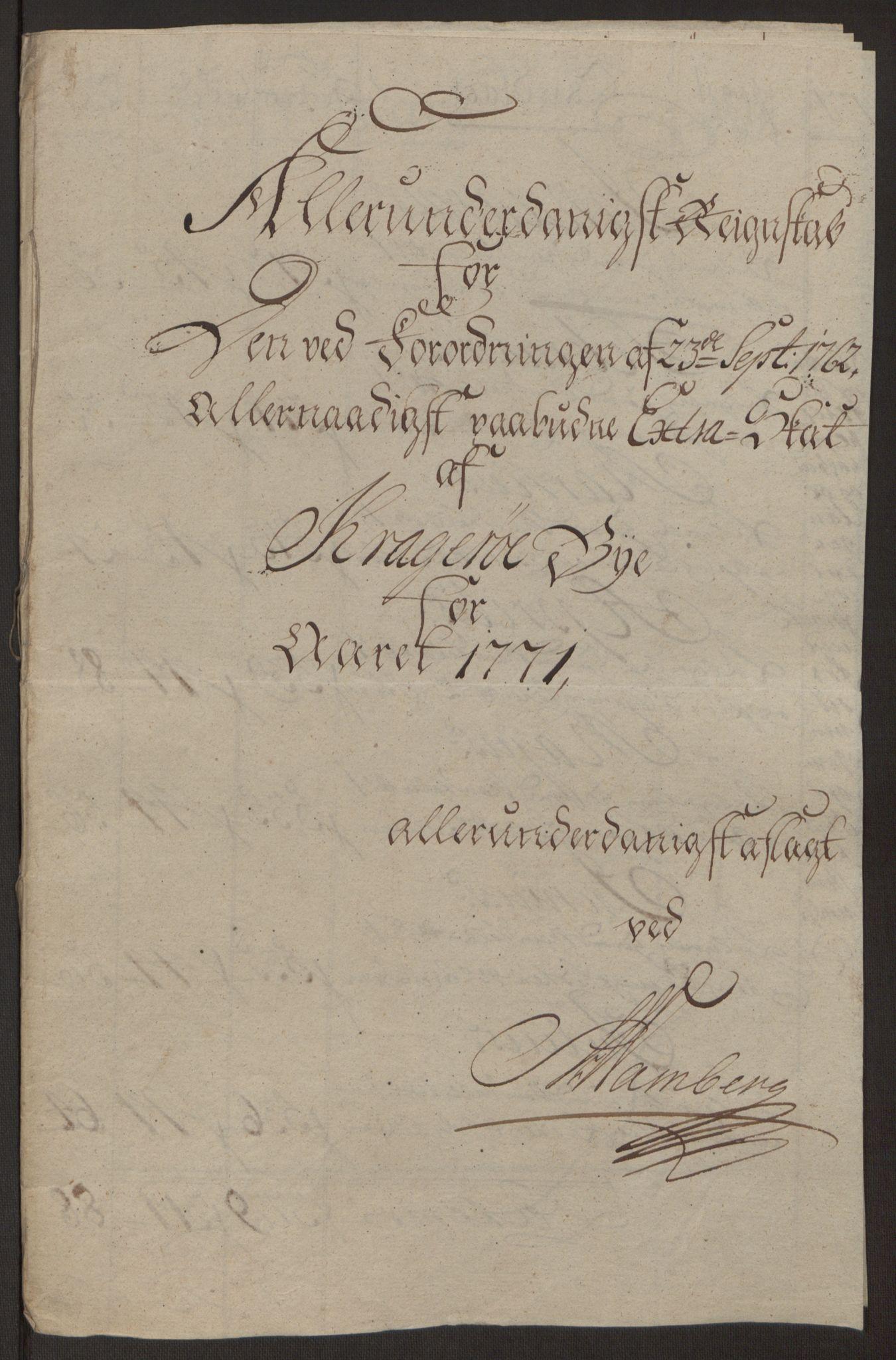 RA, Rentekammeret inntil 1814, Reviderte regnskaper, Byregnskaper, R/Rk/L0218: [K2] Kontribusjonsregnskap, 1768-1772, s. 59