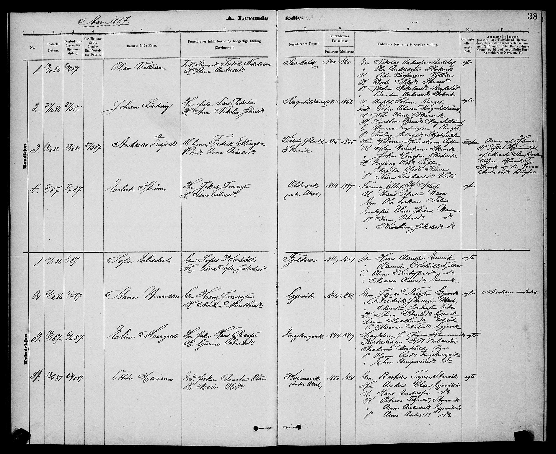 SAT, Ministerialprotokoller, klokkerbøker og fødselsregistre - Sør-Trøndelag, 637/L0562: Klokkerbok nr. 637C03, 1883-1898, s. 38