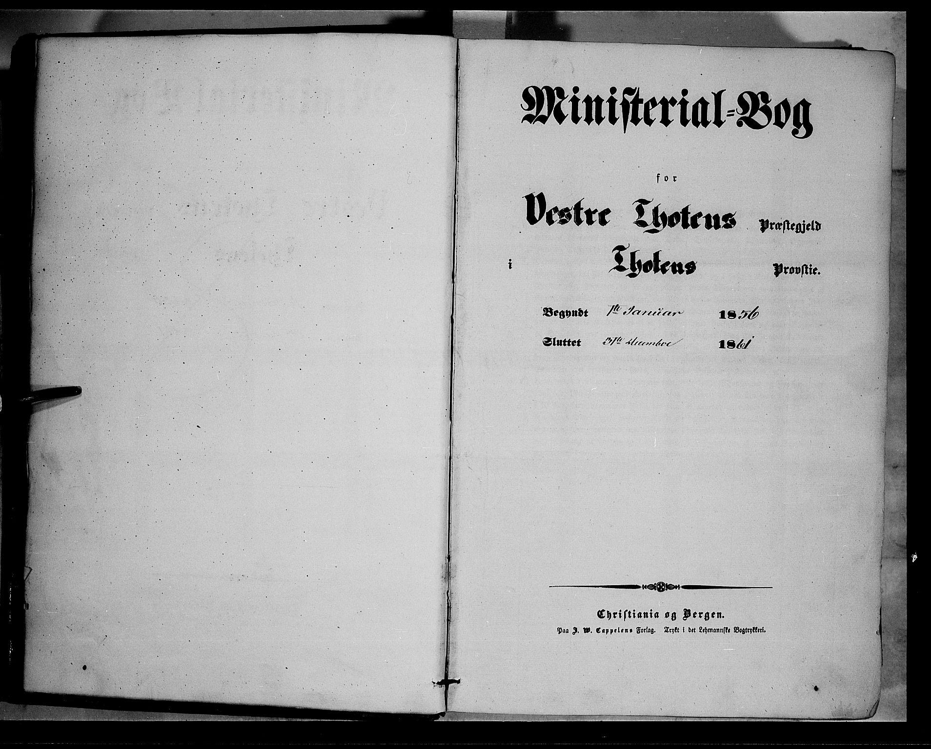 SAH, Vestre Toten prestekontor, H/Ha/Haa/L0006: Ministerialbok nr. 6, 1856-1861