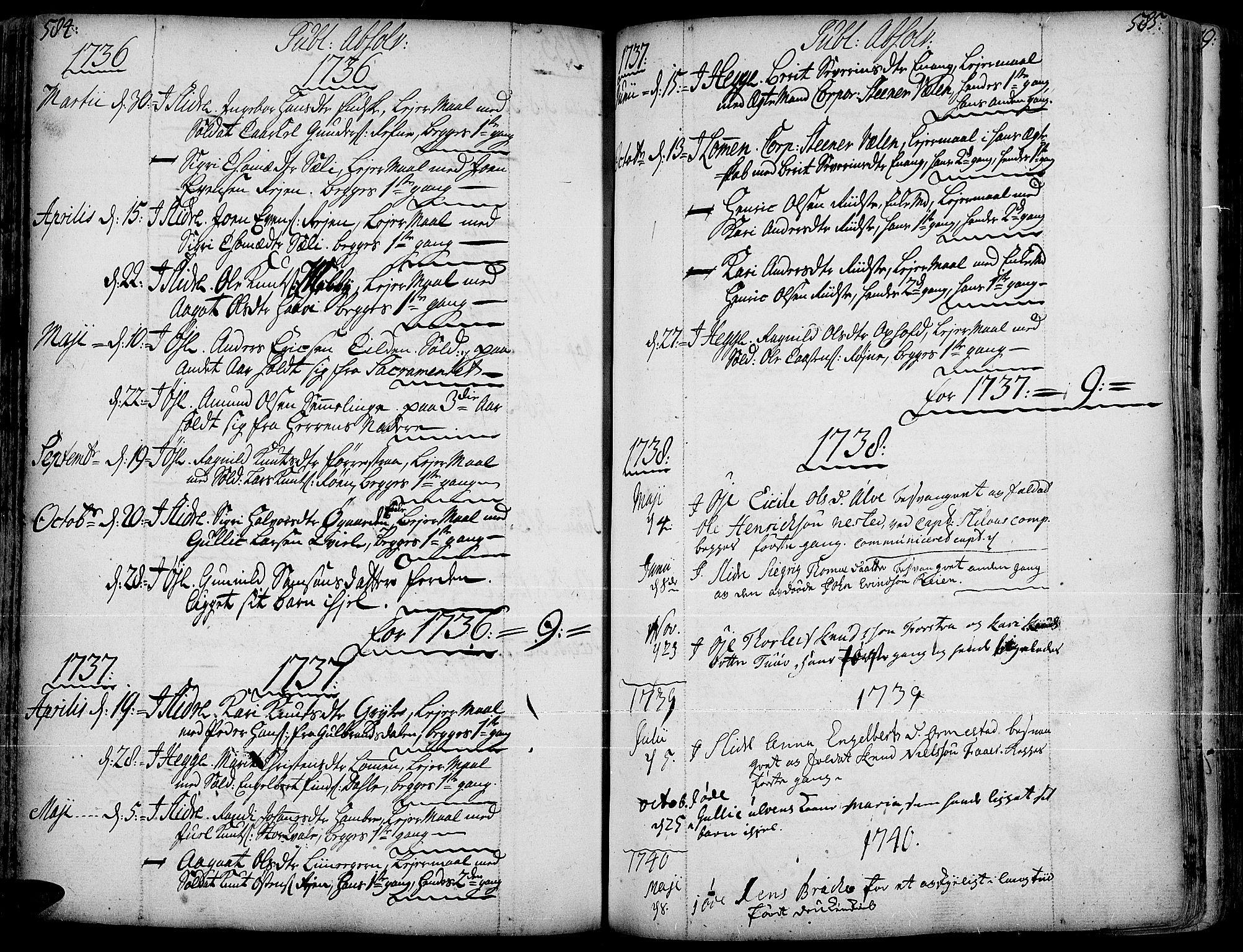 SAH, Slidre prestekontor, Ministerialbok nr. 1, 1724-1814, s. 584-585