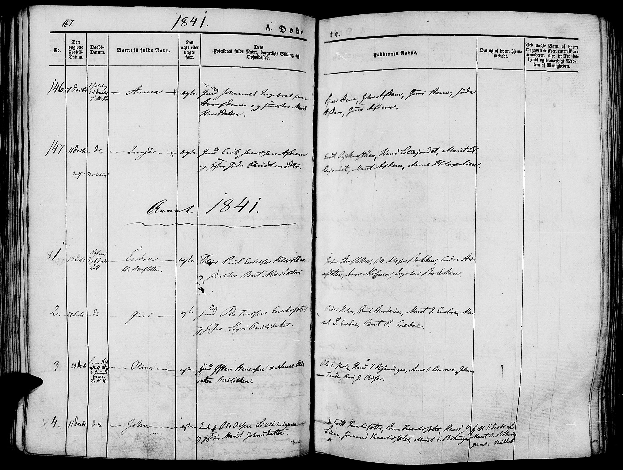SAH, Lesja prestekontor, Ministerialbok nr. 5, 1830-1842, s. 167