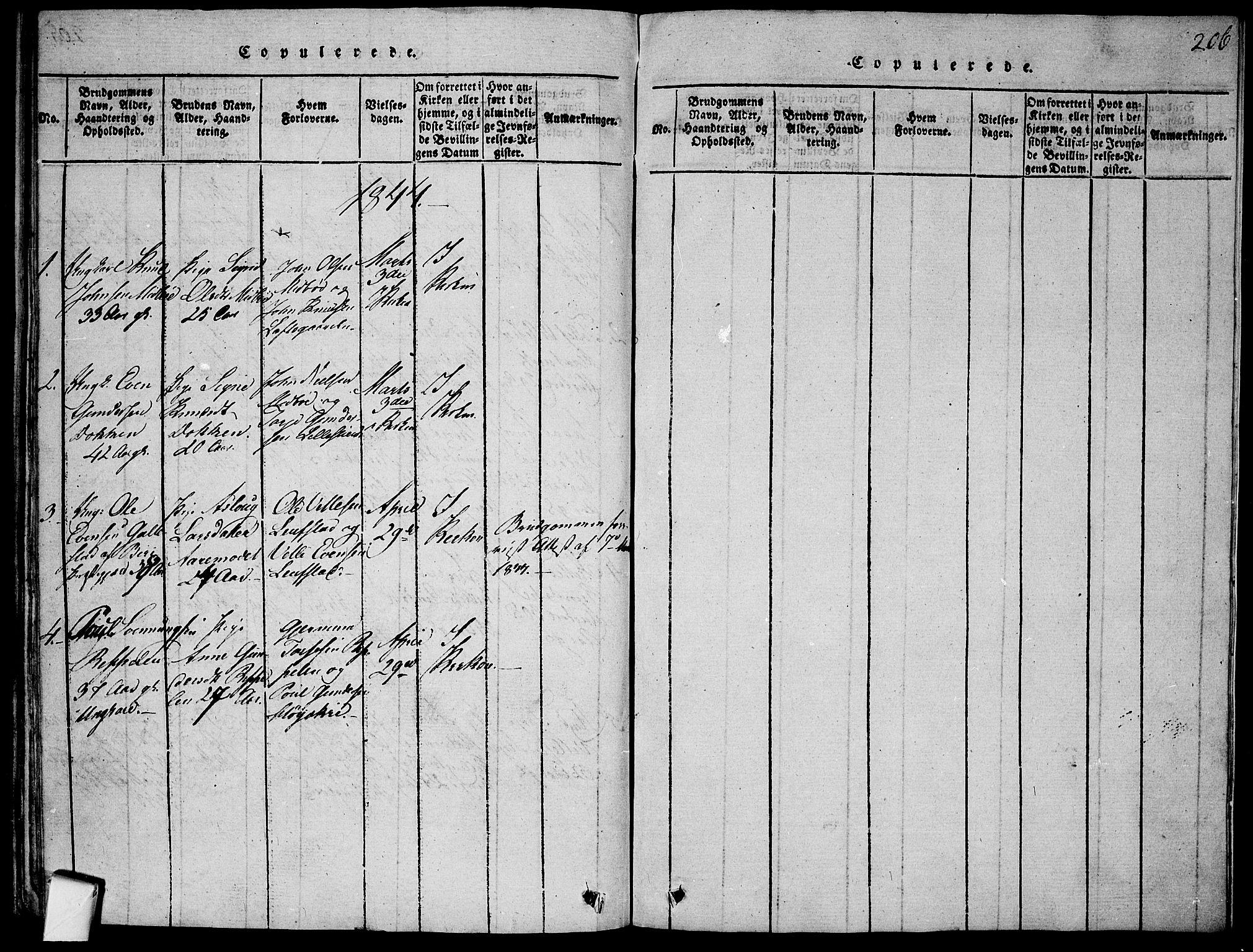 SAKO, Mo kirkebøker, F/Fa/L0004: Ministerialbok nr. I 4, 1814-1844, s. 206