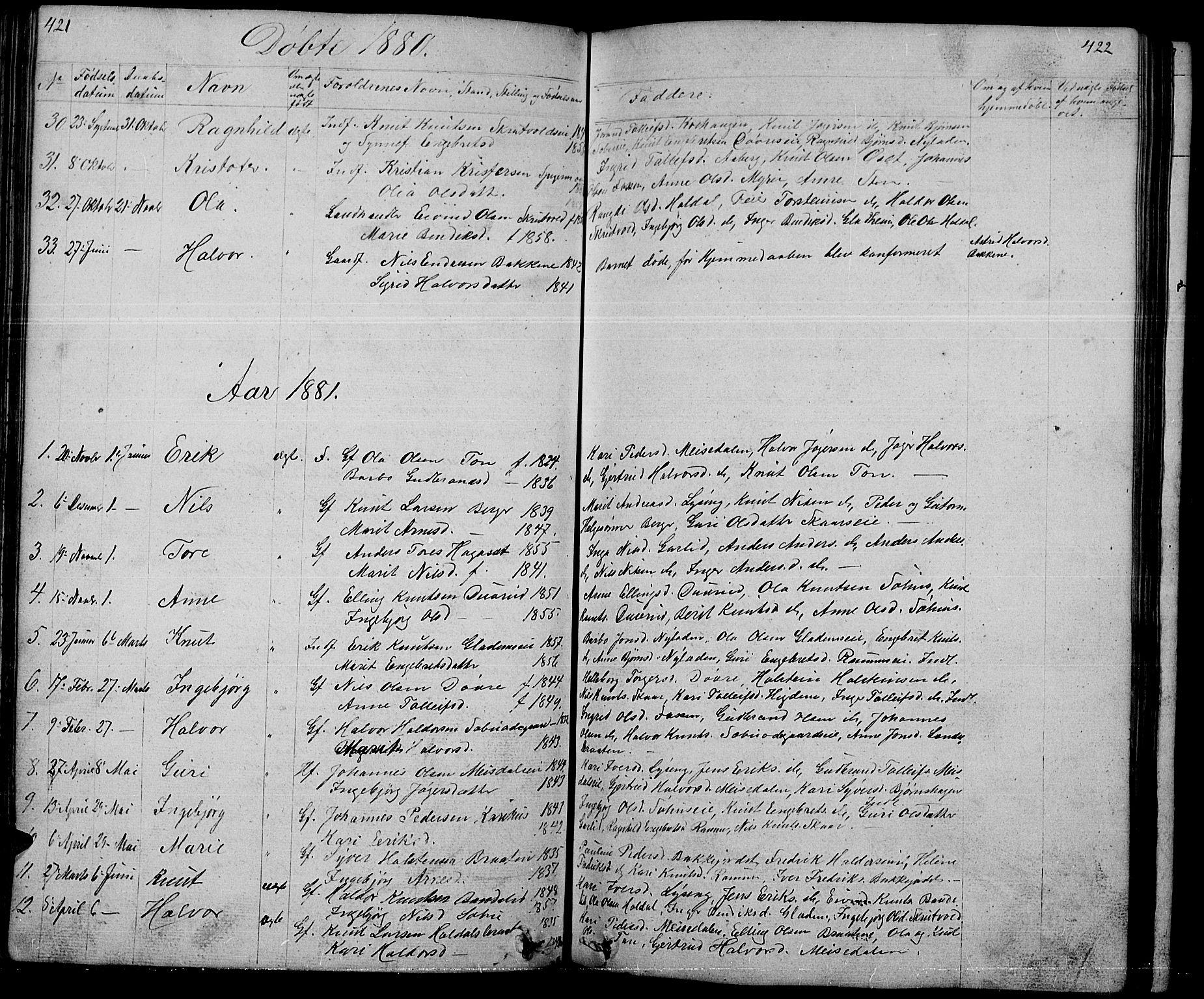 SAH, Nord-Aurdal prestekontor, Klokkerbok nr. 1, 1834-1887, s. 421-422