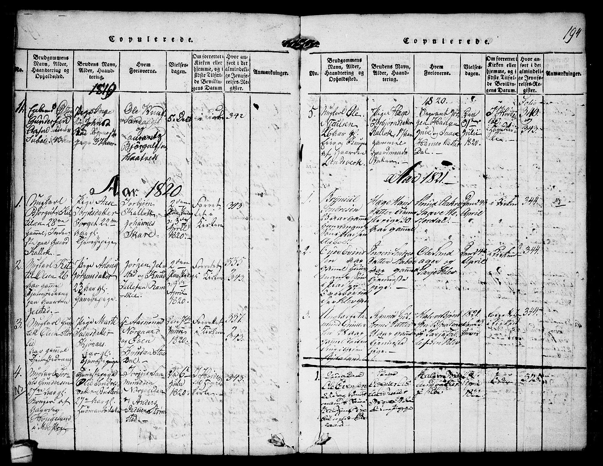 SAKO, Kviteseid kirkebøker, F/Fb/L0001: Ministerialbok nr. II 1, 1815-1836, s. 194