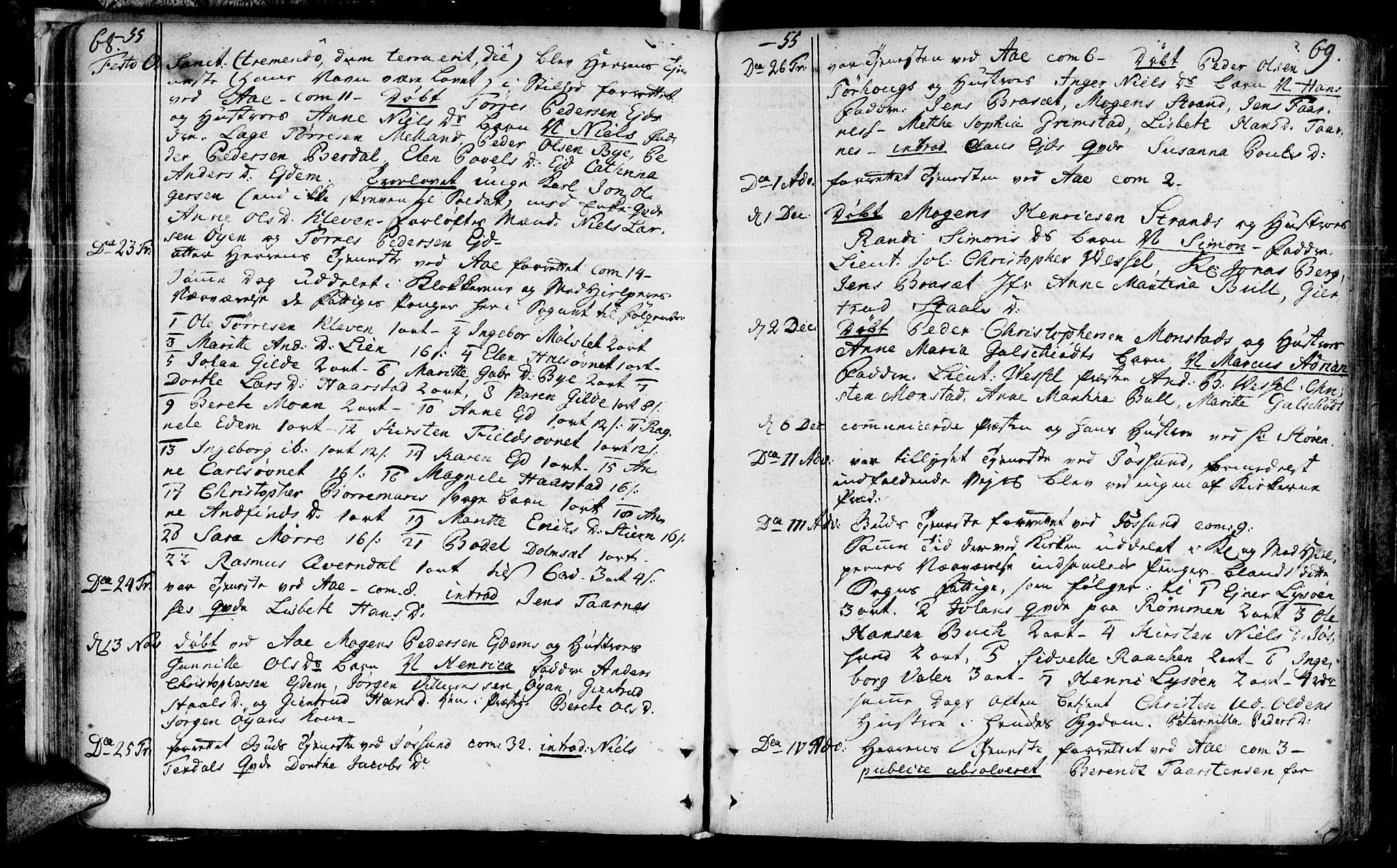 SAT, Ministerialprotokoller, klokkerbøker og fødselsregistre - Sør-Trøndelag, 655/L0672: Ministerialbok nr. 655A01, 1750-1779, s. 68-69