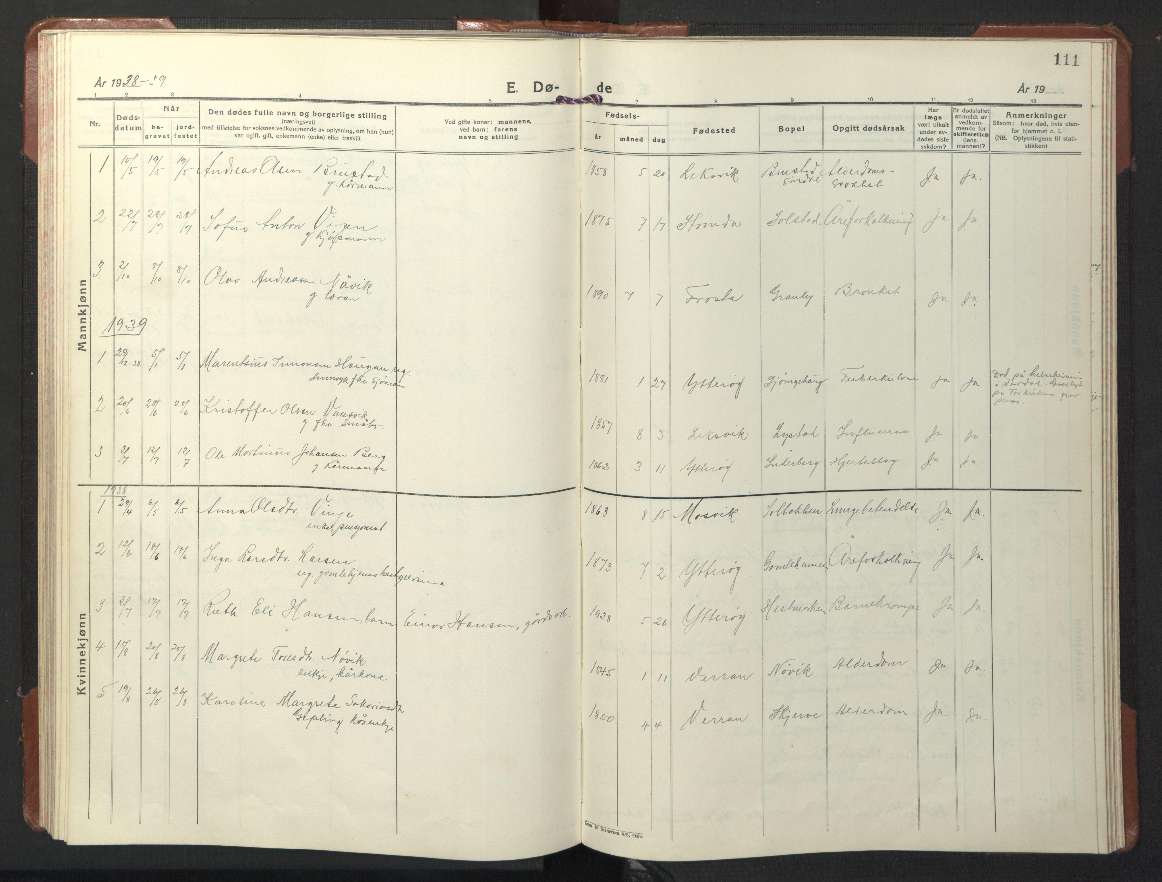 SAT, Ministerialprotokoller, klokkerbøker og fødselsregistre - Nord-Trøndelag, 722/L0227: Klokkerbok nr. 722C03, 1928-1958, s. 111