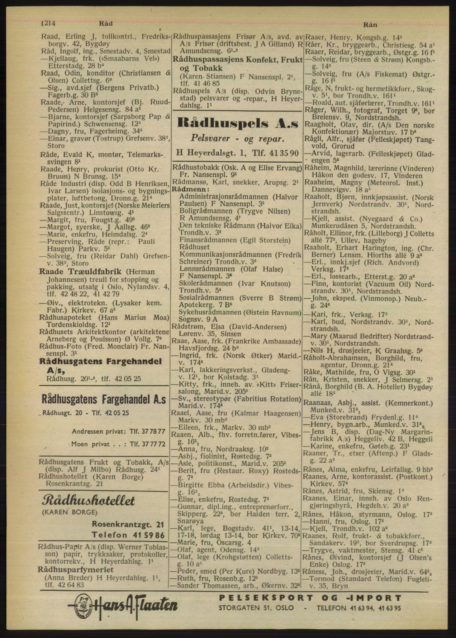RA, Oslo adressebok (publikasjon)*, 1950, s. 1214