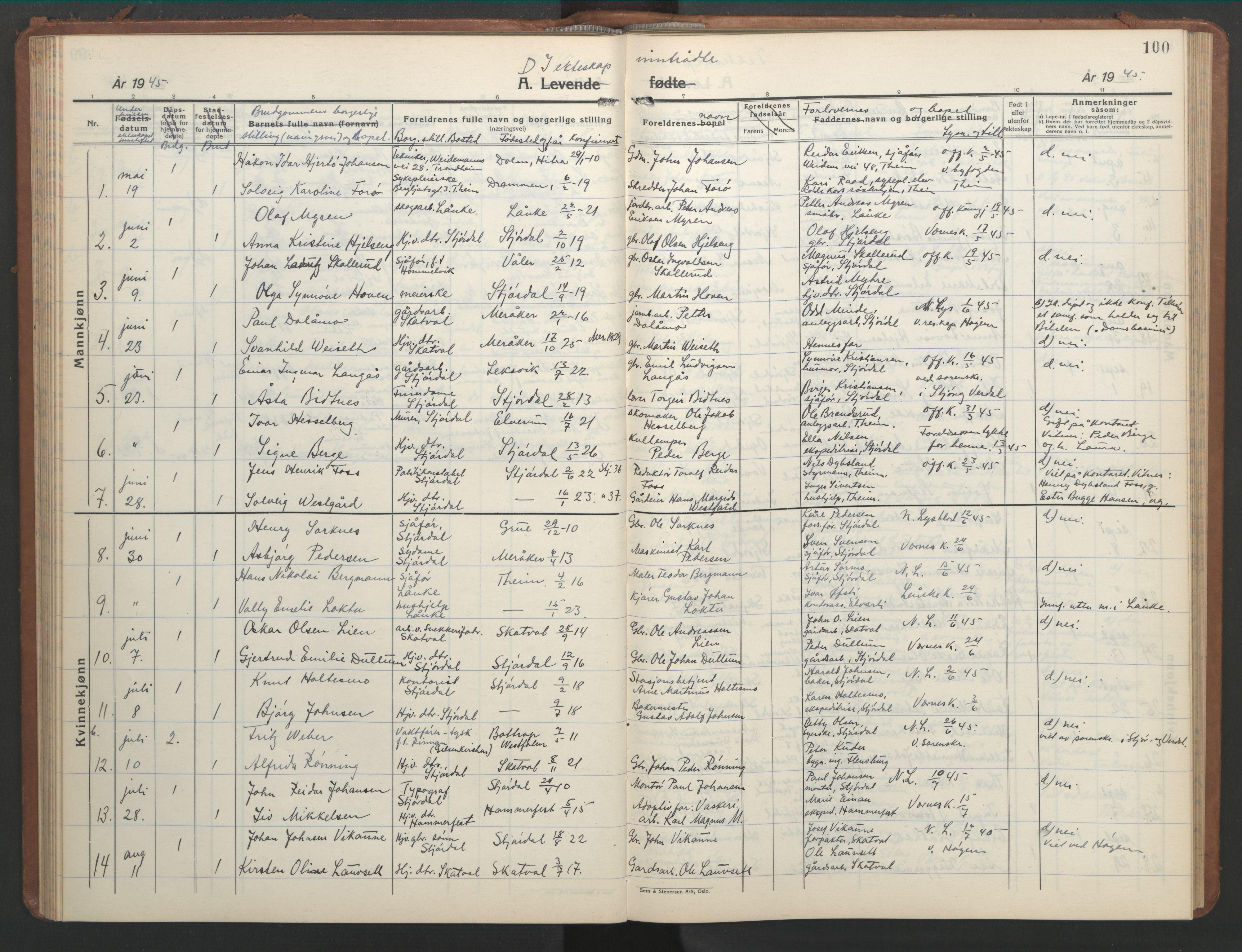 SAT, Ministerialprotokoller, klokkerbøker og fødselsregistre - Nord-Trøndelag, 709/L0089: Klokkerbok nr. 709C03, 1935-1948, s. 100