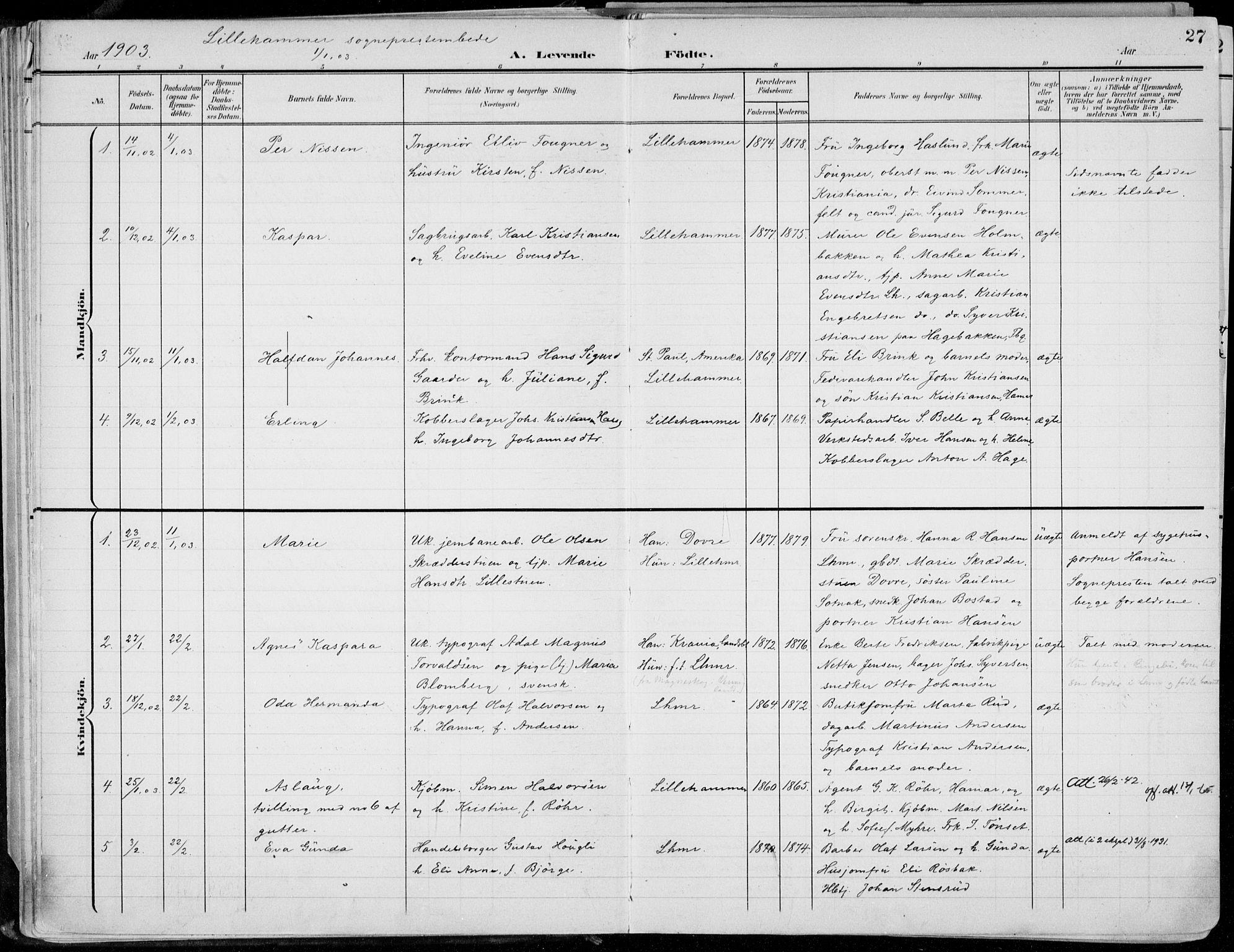 SAH, Lillehammer prestekontor, Ministerialbok nr. 1, 1901-1916, s. 27