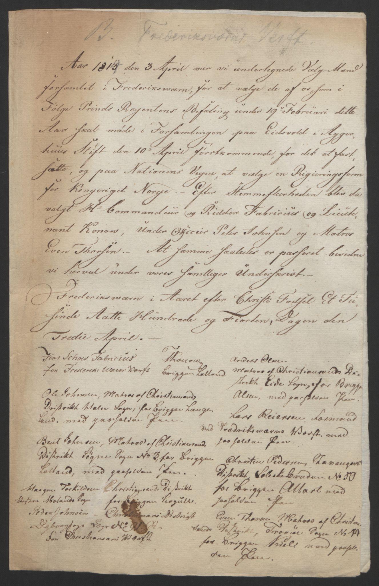 RA, Statsrådssekretariatet, D/Db/L0007: Fullmakter for Eidsvollsrepresentantene i 1814. , 1814, s. 129