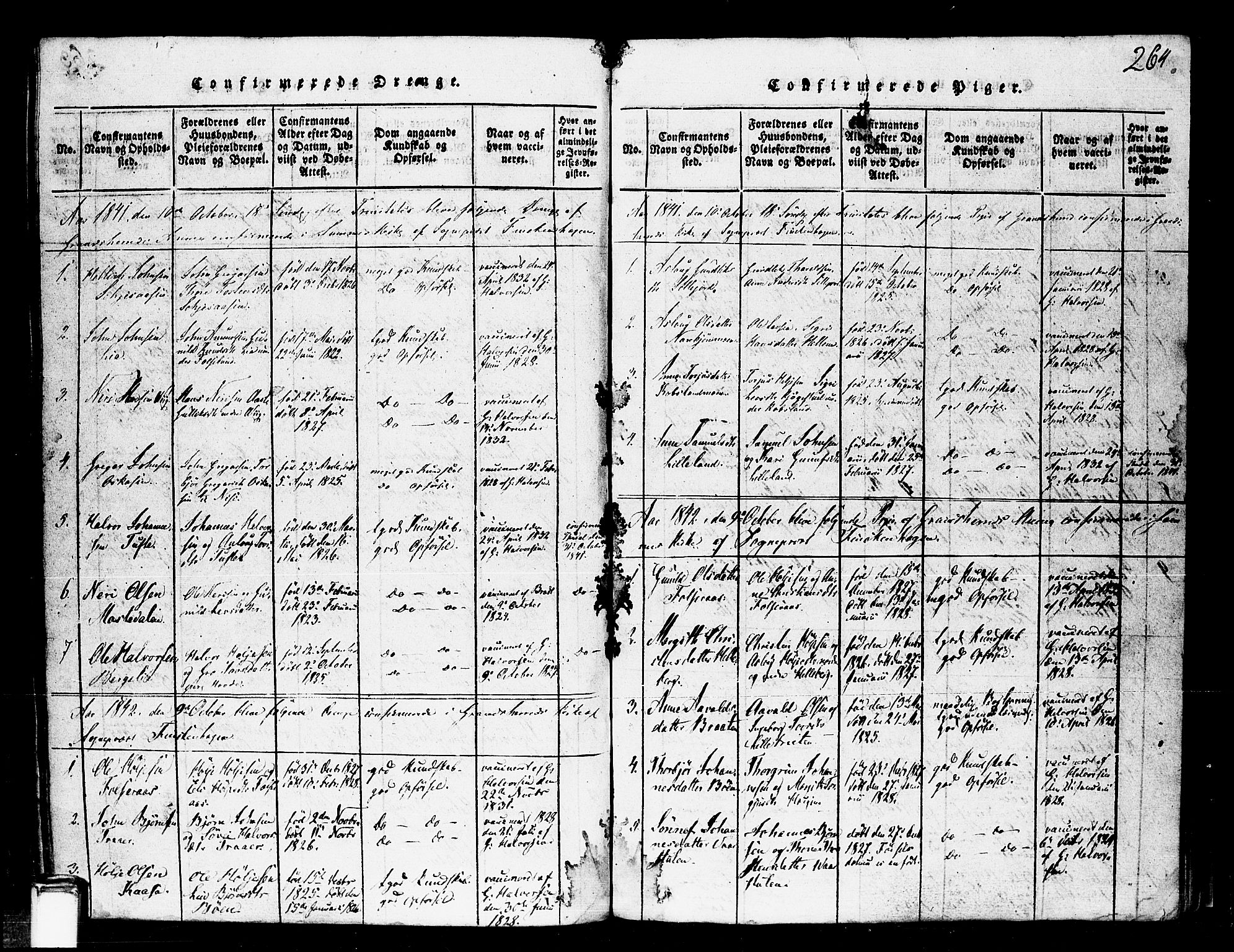 SAKO, Gransherad kirkebøker, F/Fa/L0001: Ministerialbok nr. I 1, 1815-1843, s. 264