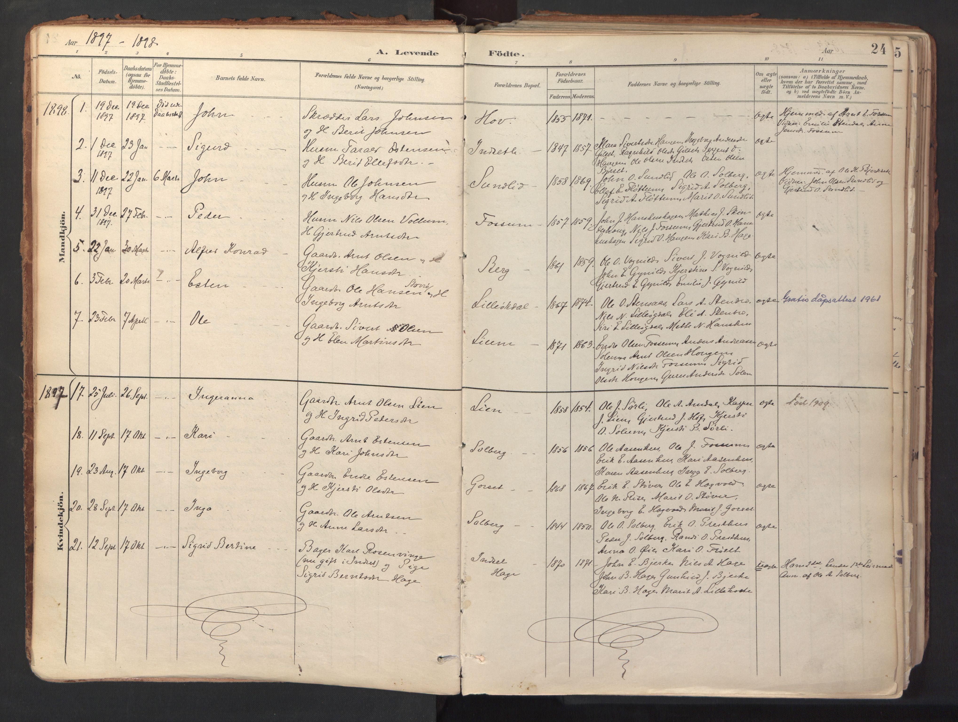 SAT, Ministerialprotokoller, klokkerbøker og fødselsregistre - Sør-Trøndelag, 689/L1041: Ministerialbok nr. 689A06, 1891-1923, s. 24