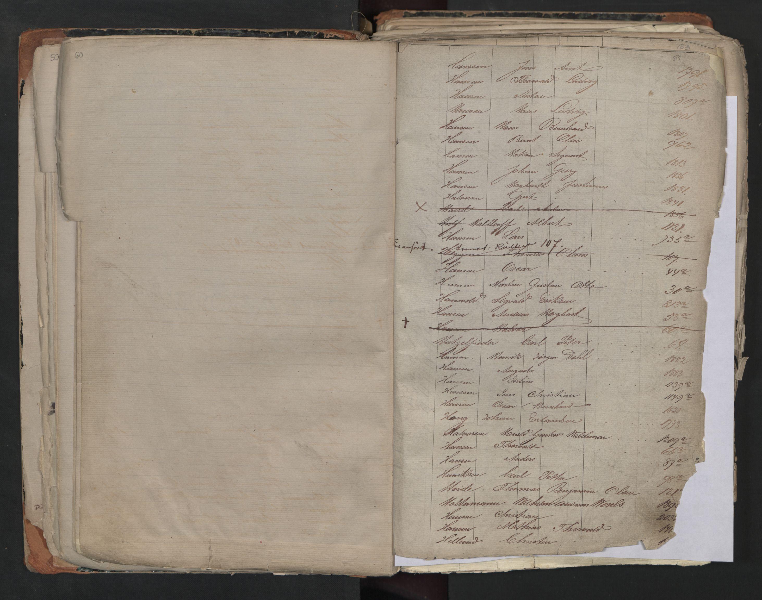 SAO, Oslo sjømannskontor, F/Fa/L0001: Register for Kristiania krets, 1866-1891, s. 60-61