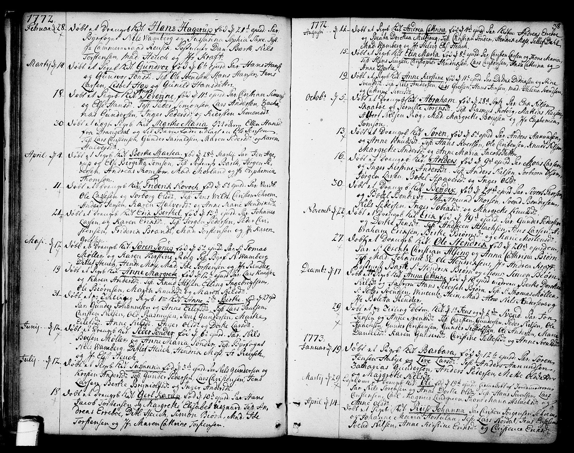 SAKO, Kragerø kirkebøker, F/Fa/L0002: Ministerialbok nr. 2, 1767-1802, s. 38