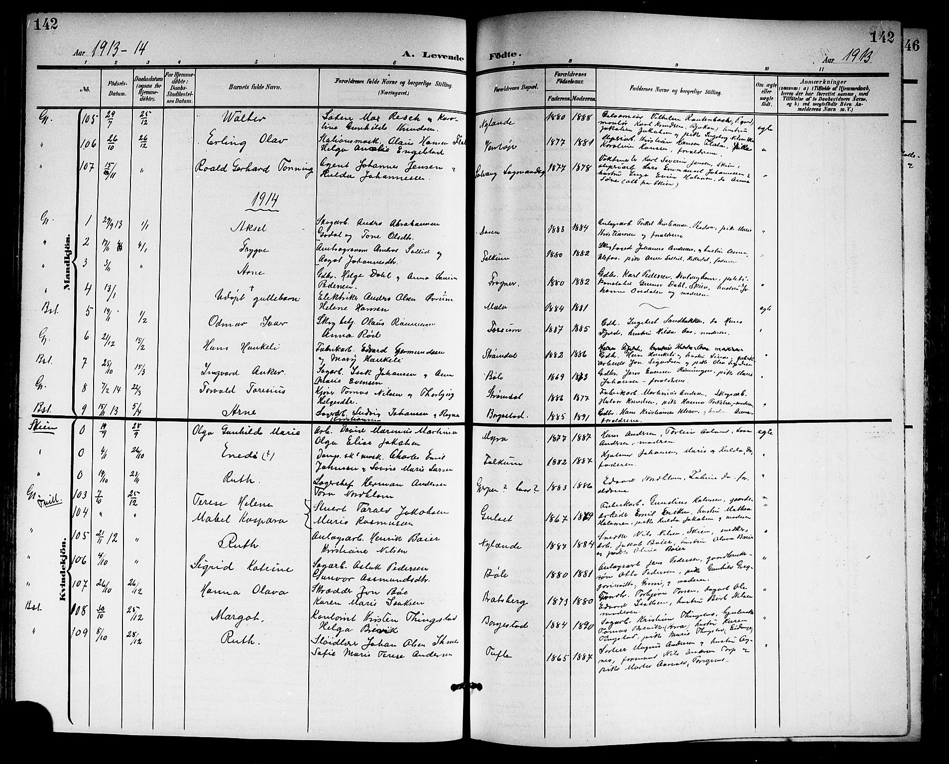 SAKO, Gjerpen kirkebøker, G/Ga/L0003: Klokkerbok nr. I 3, 1901-1919, s. 142