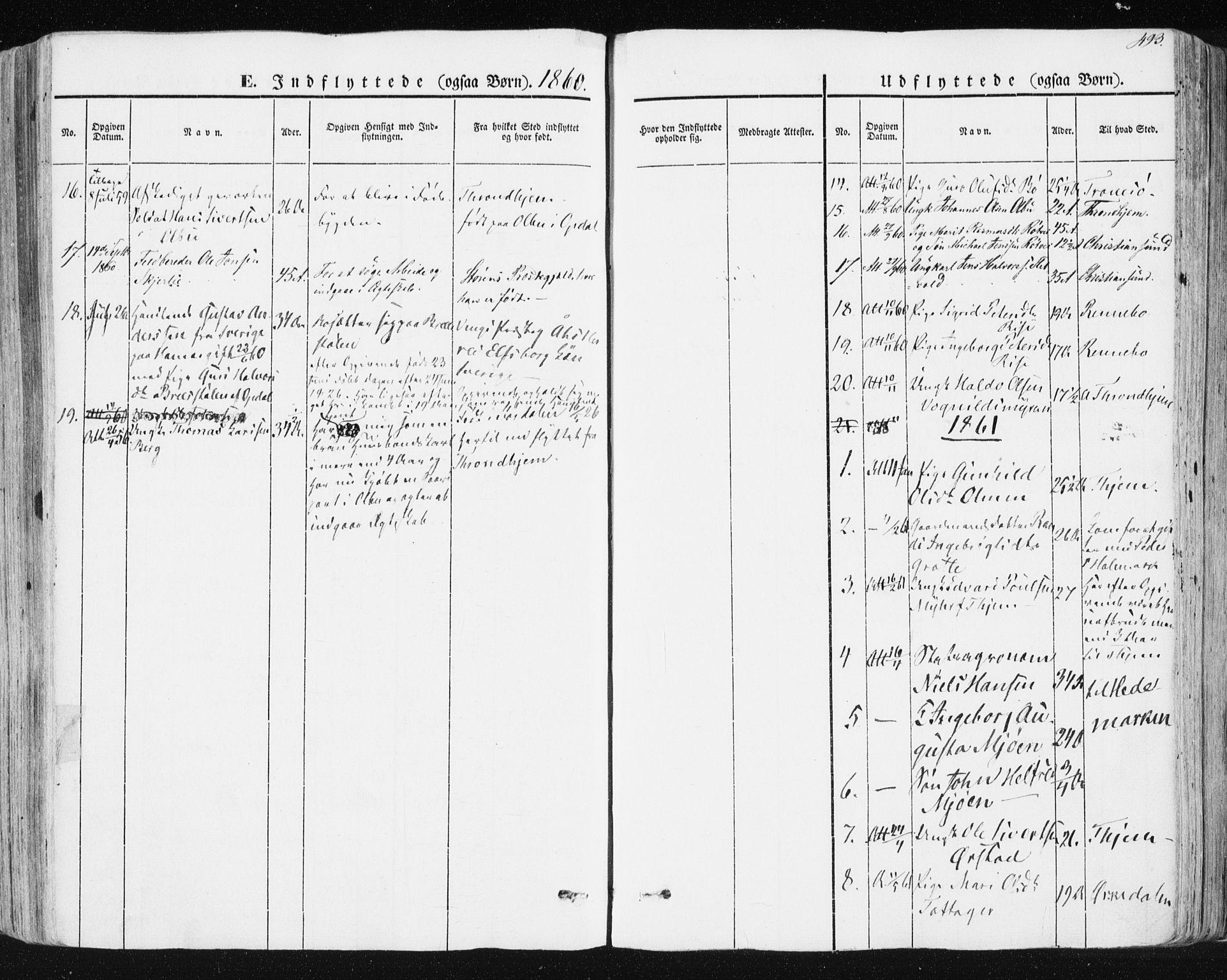 SAT, Ministerialprotokoller, klokkerbøker og fødselsregistre - Sør-Trøndelag, 678/L0899: Ministerialbok nr. 678A08, 1848-1872, s. 493