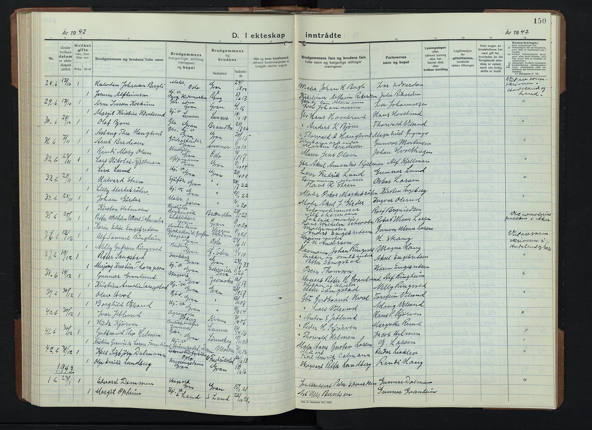SAH, Gran prestekontor, Klokkerbok nr. 9, 1933-1950, s. 150