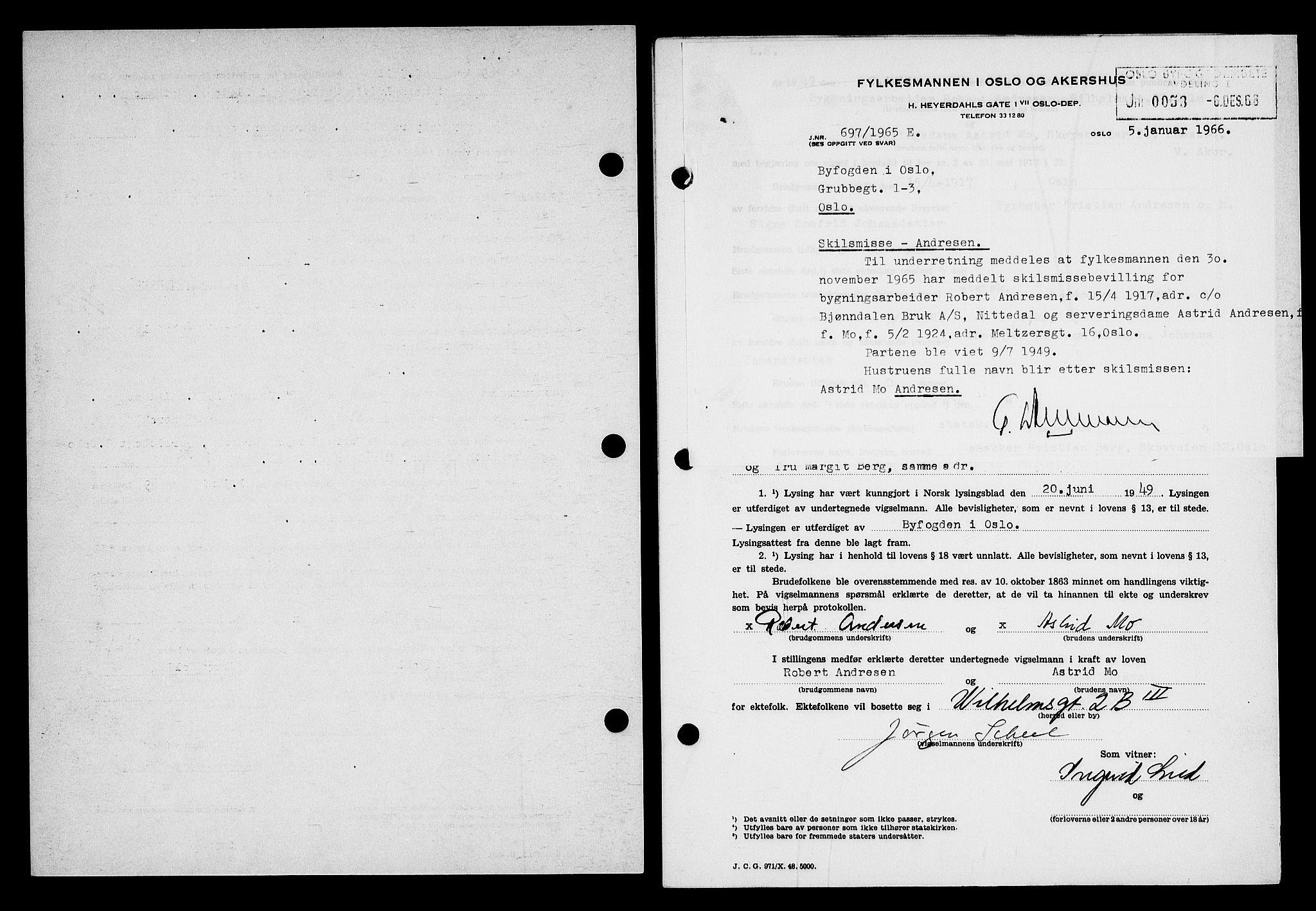 SAO, Oslo byfogd avd. I, L/Lb/Lbb/L0066: Notarialprotokoll, rekke II: Vigsler, 1949, s. upaginert