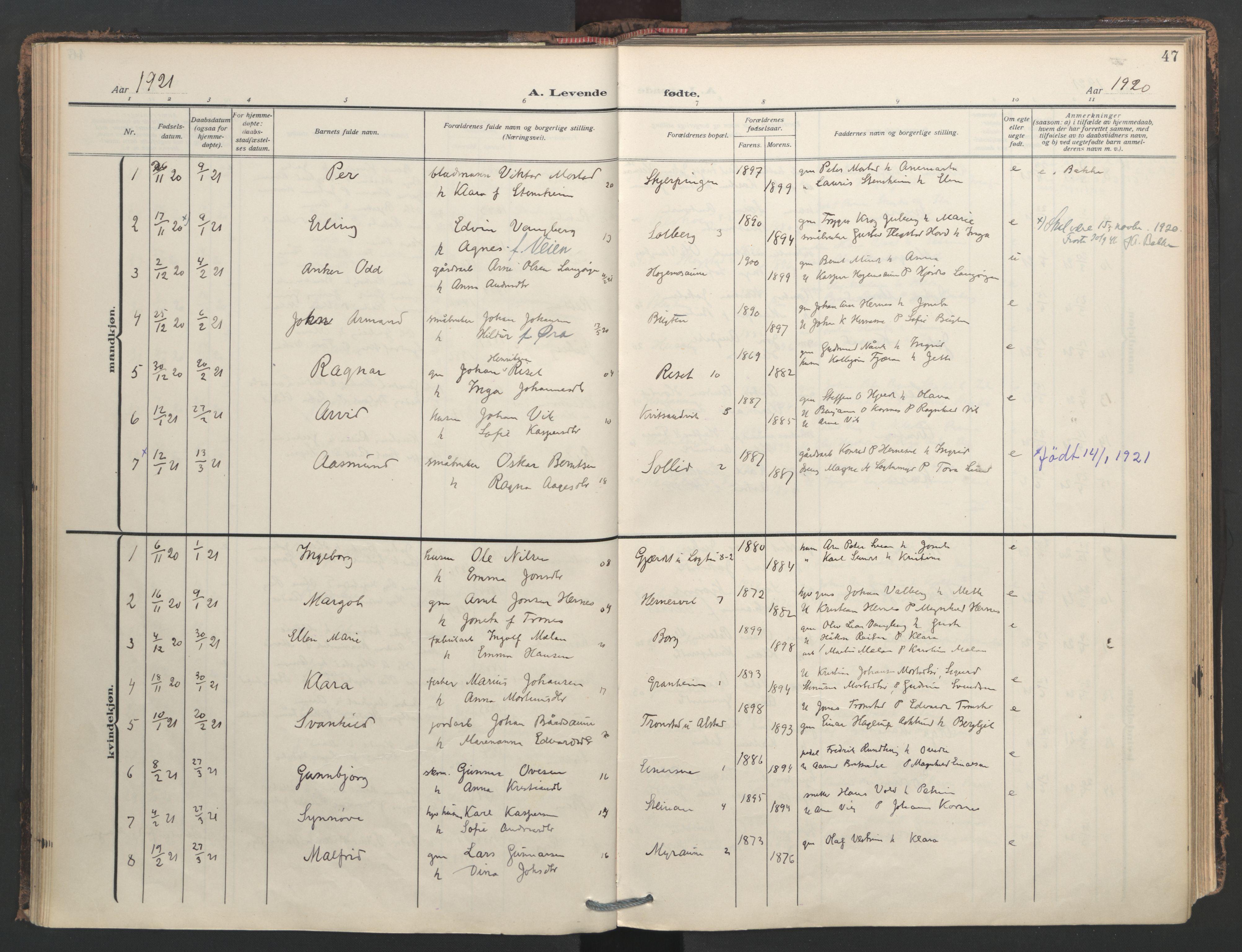 SAT, Ministerialprotokoller, klokkerbøker og fødselsregistre - Nord-Trøndelag, 713/L0123: Ministerialbok nr. 713A12, 1911-1925, s. 47