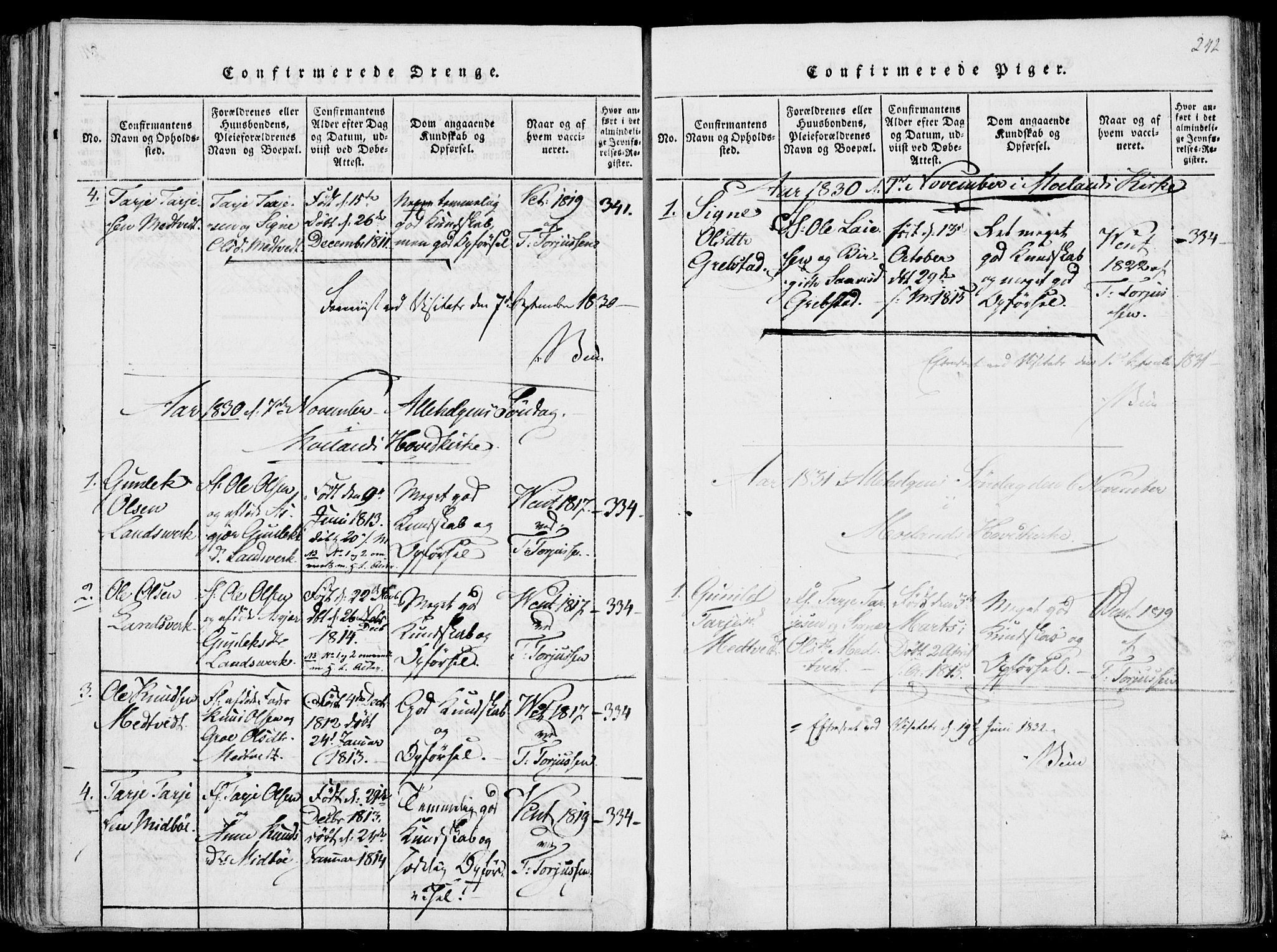 SAKO, Fyresdal kirkebøker, F/Fa/L0004: Ministerialbok nr. I 4, 1815-1854, s. 242