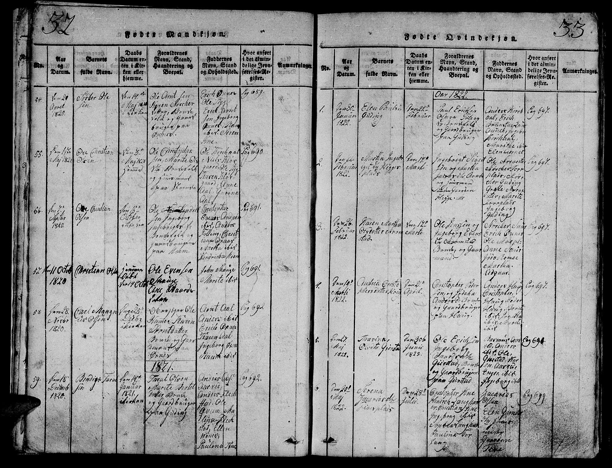 SAT, Ministerialprotokoller, klokkerbøker og fødselsregistre - Nord-Trøndelag, 747/L0459: Klokkerbok nr. 747C01, 1816-1842, s. 32-33