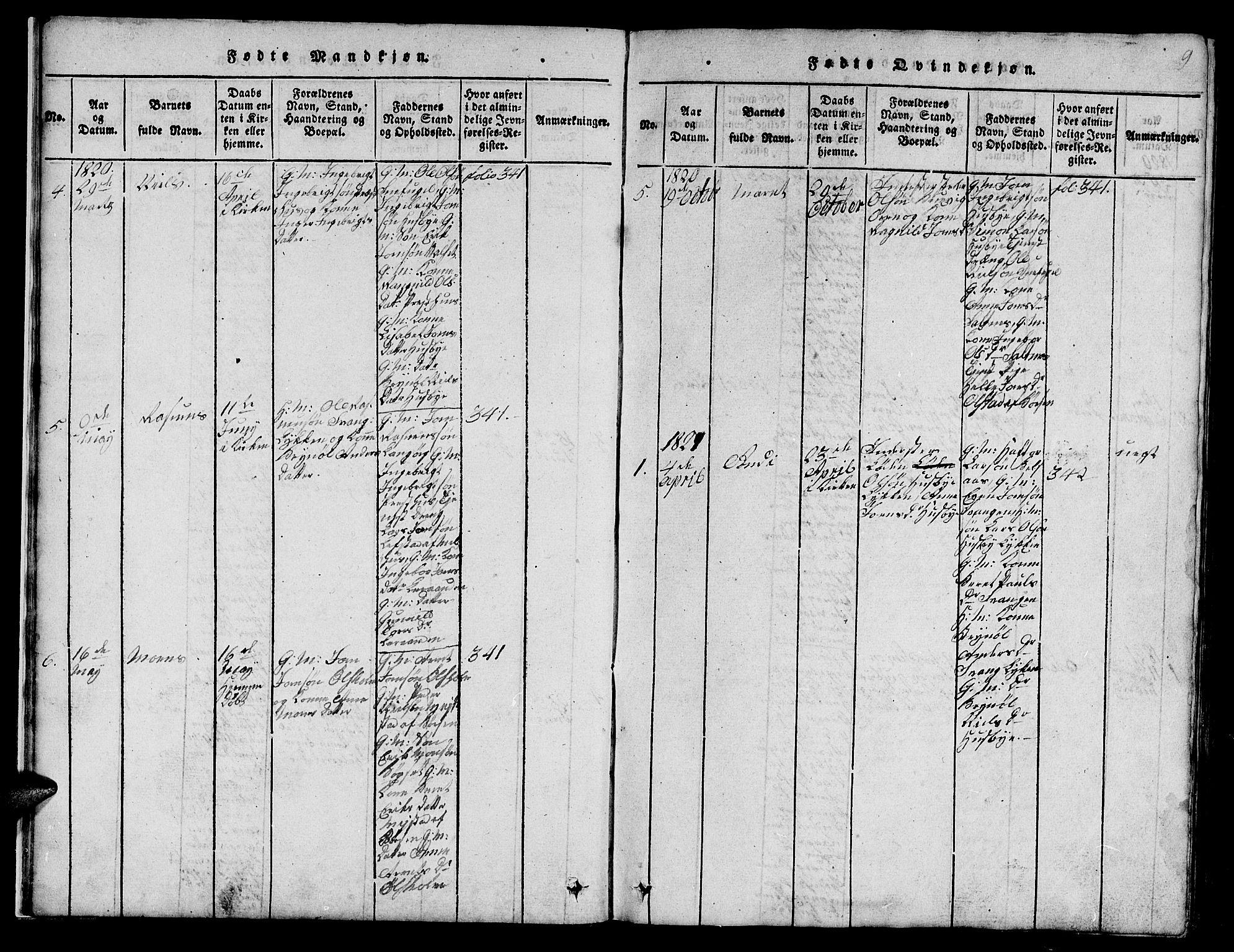 SAT, Ministerialprotokoller, klokkerbøker og fødselsregistre - Sør-Trøndelag, 666/L0788: Klokkerbok nr. 666C01, 1816-1847, s. 9