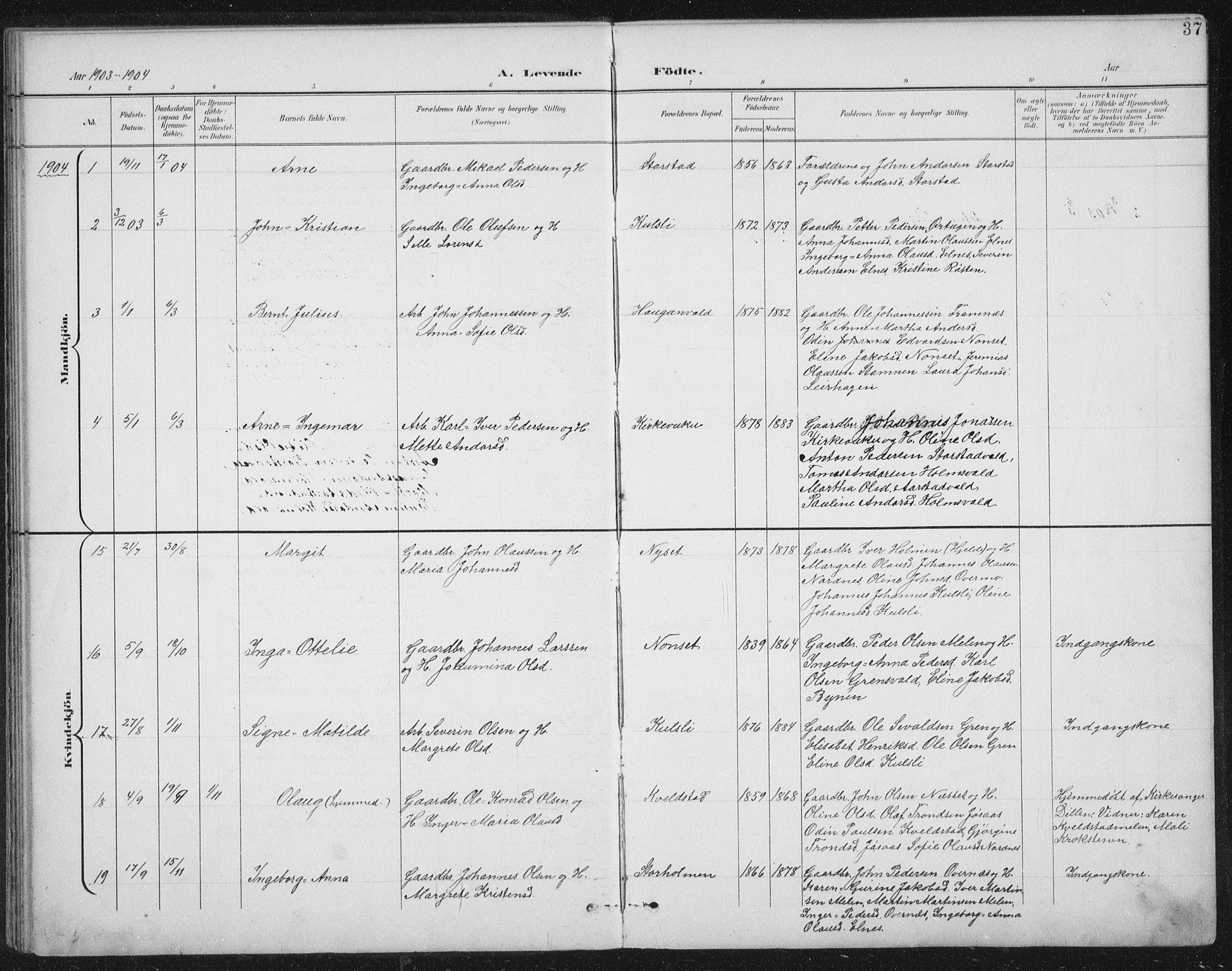 SAT, Ministerialprotokoller, klokkerbøker og fødselsregistre - Nord-Trøndelag, 724/L0269: Klokkerbok nr. 724C05, 1899-1920, s. 37
