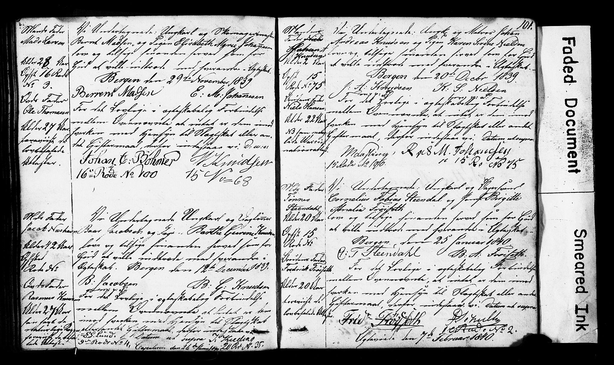 SAB, Domkirken Sokneprestembete, Forlovererklæringer nr. II.5.3, 1832-1845, s. 101