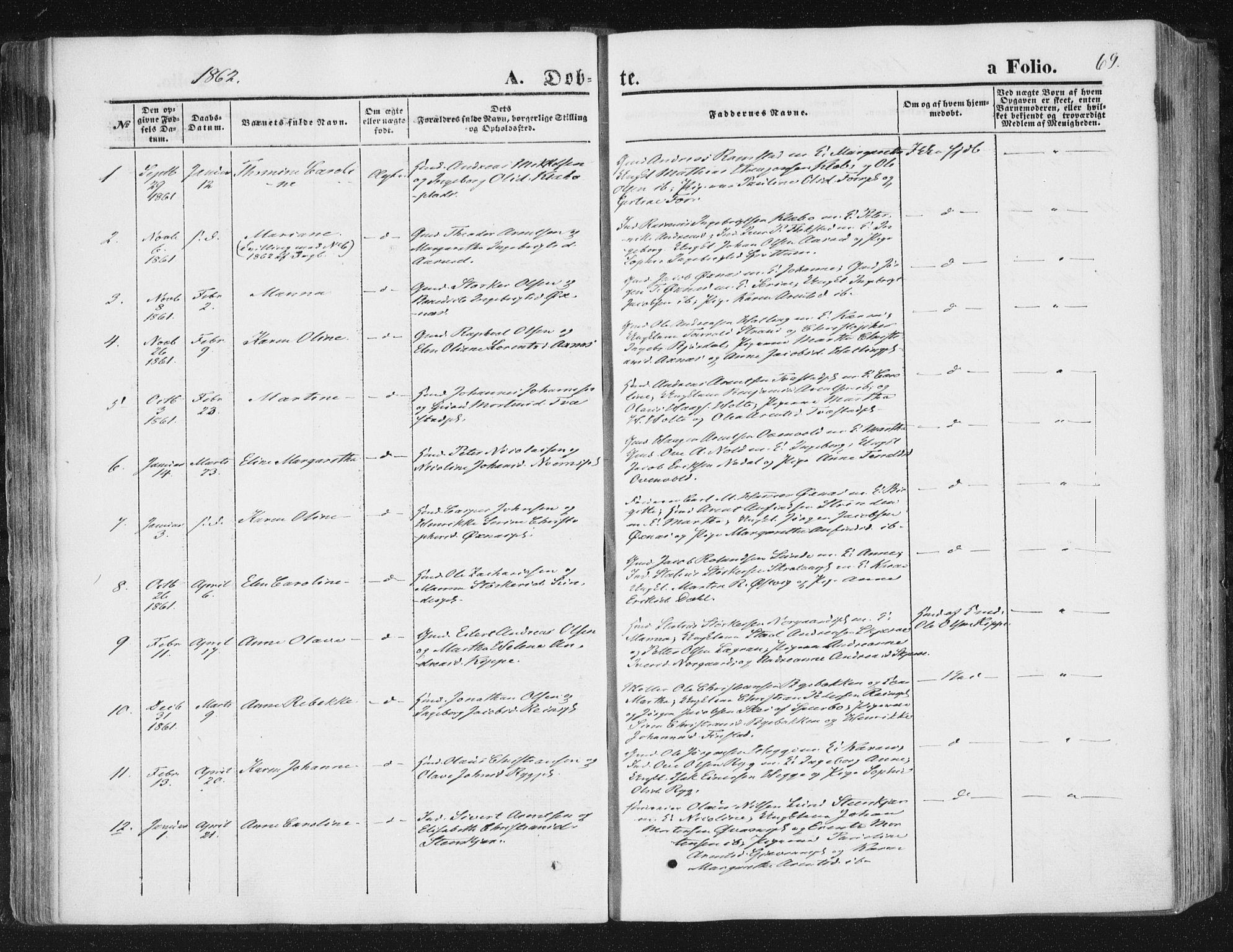SAT, Ministerialprotokoller, klokkerbøker og fødselsregistre - Nord-Trøndelag, 746/L0447: Ministerialbok nr. 746A06, 1860-1877, s. 69