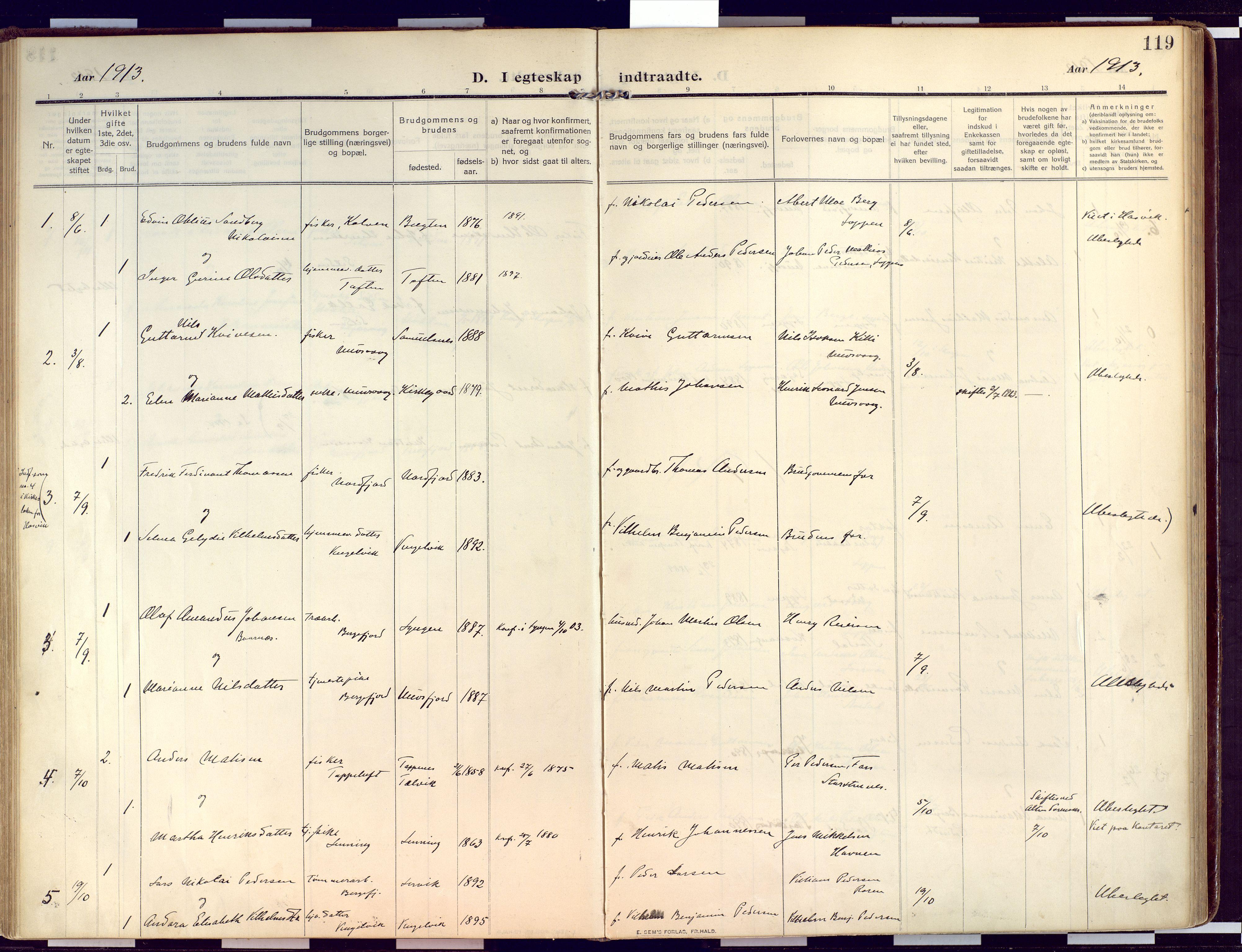 SATØ, Loppa sokneprestkontor, H/Ha/L0011kirke: Ministerialbok nr. 11, 1909-1919, s. 119